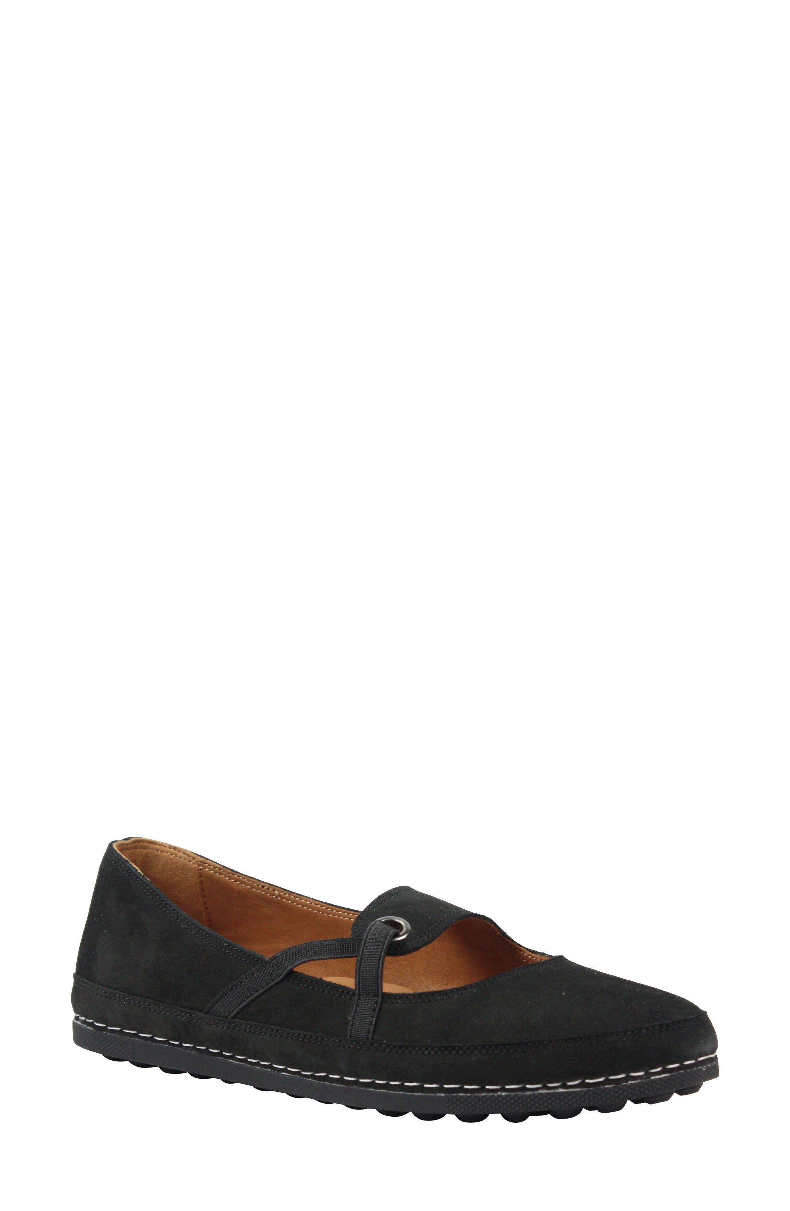 Denisse Mary Jane Flat,                         Main,                         color, Black Nubuck Leather