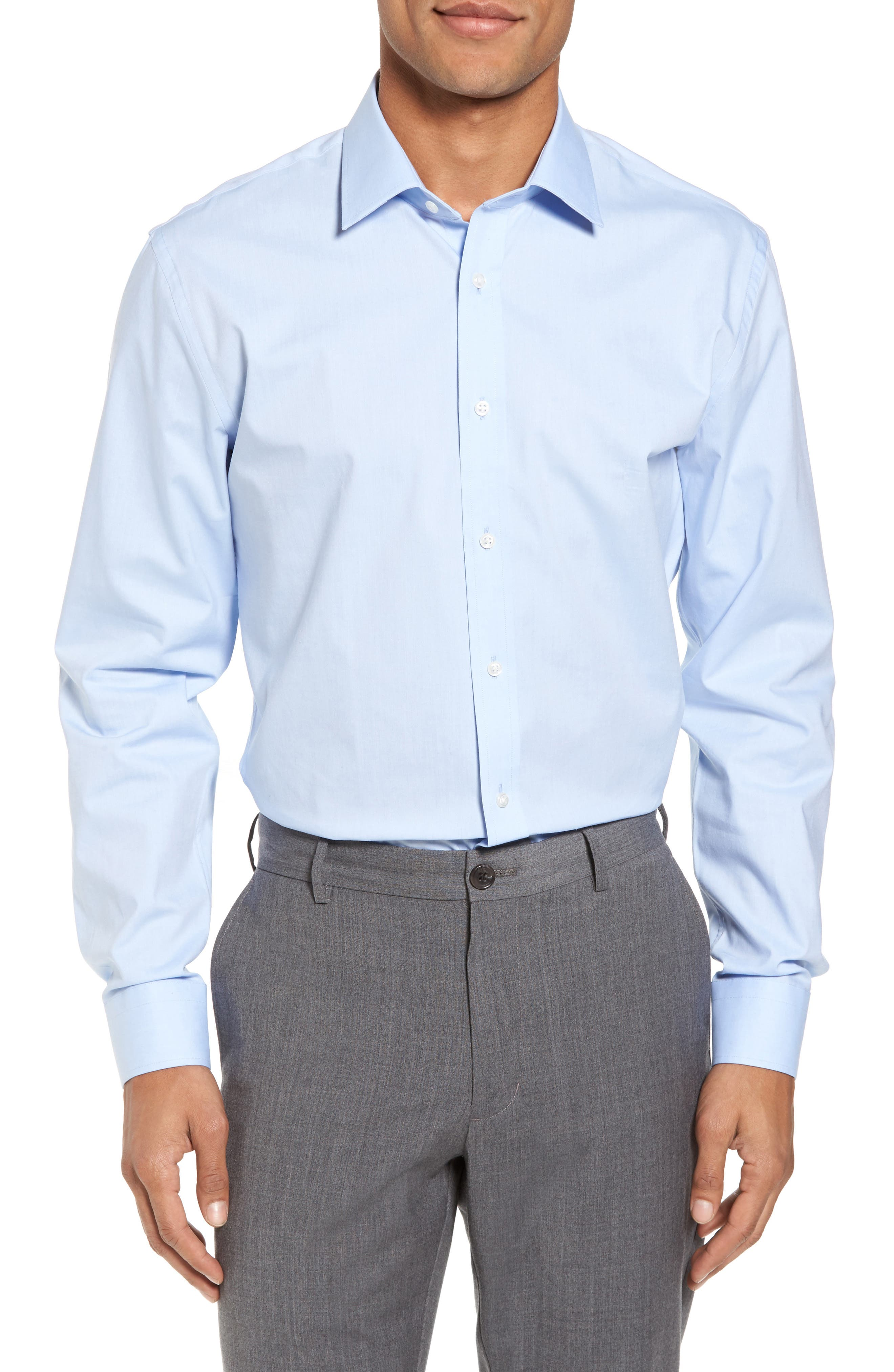 Tech-Smart Trim Fit Stretch Pinpoint Dress Shirt,                         Main,                         color, Blue Xenon
