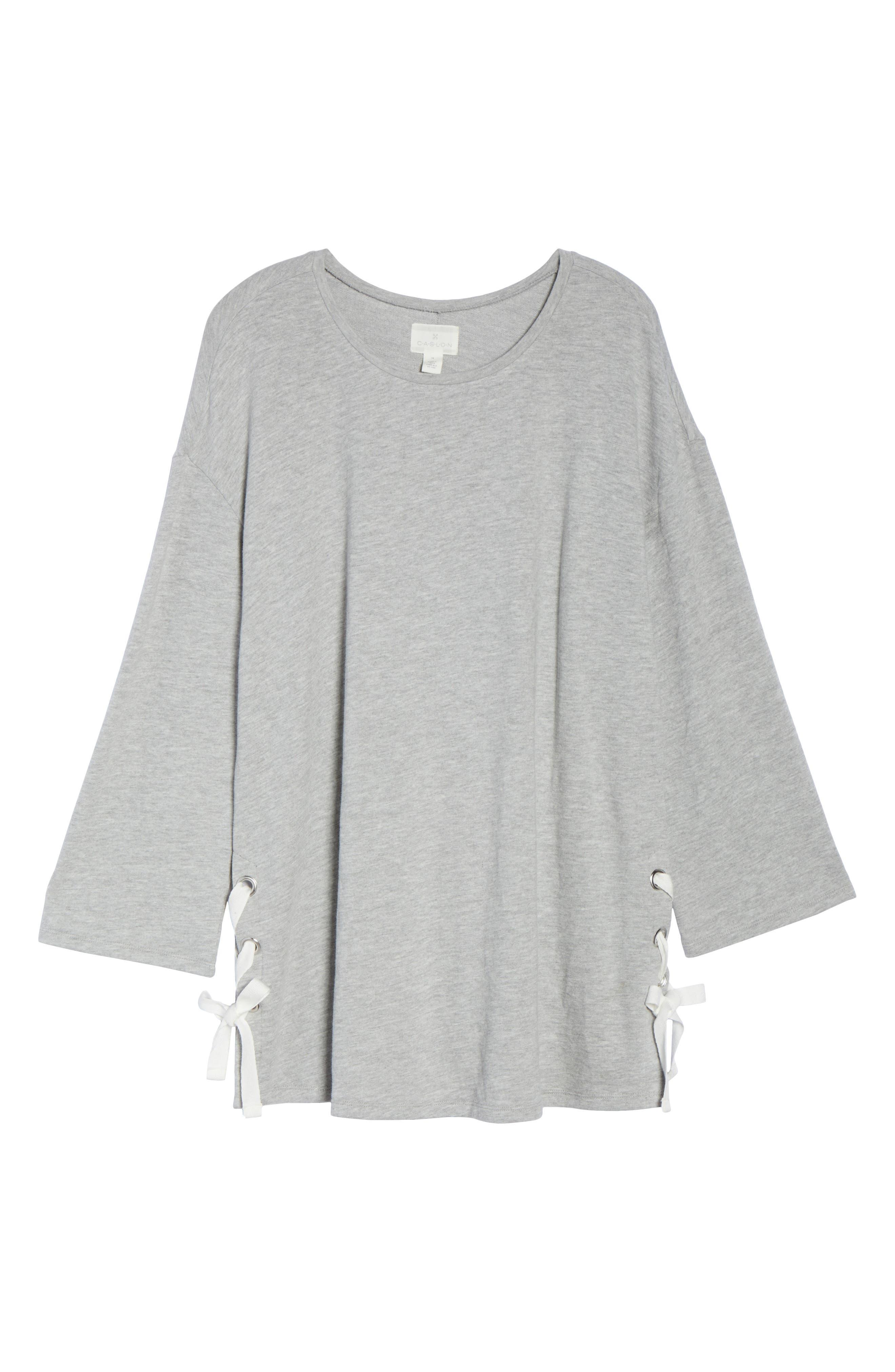 Lace-Up Side Sweatshirt,                             Alternate thumbnail 5, color,                             Grey Heather