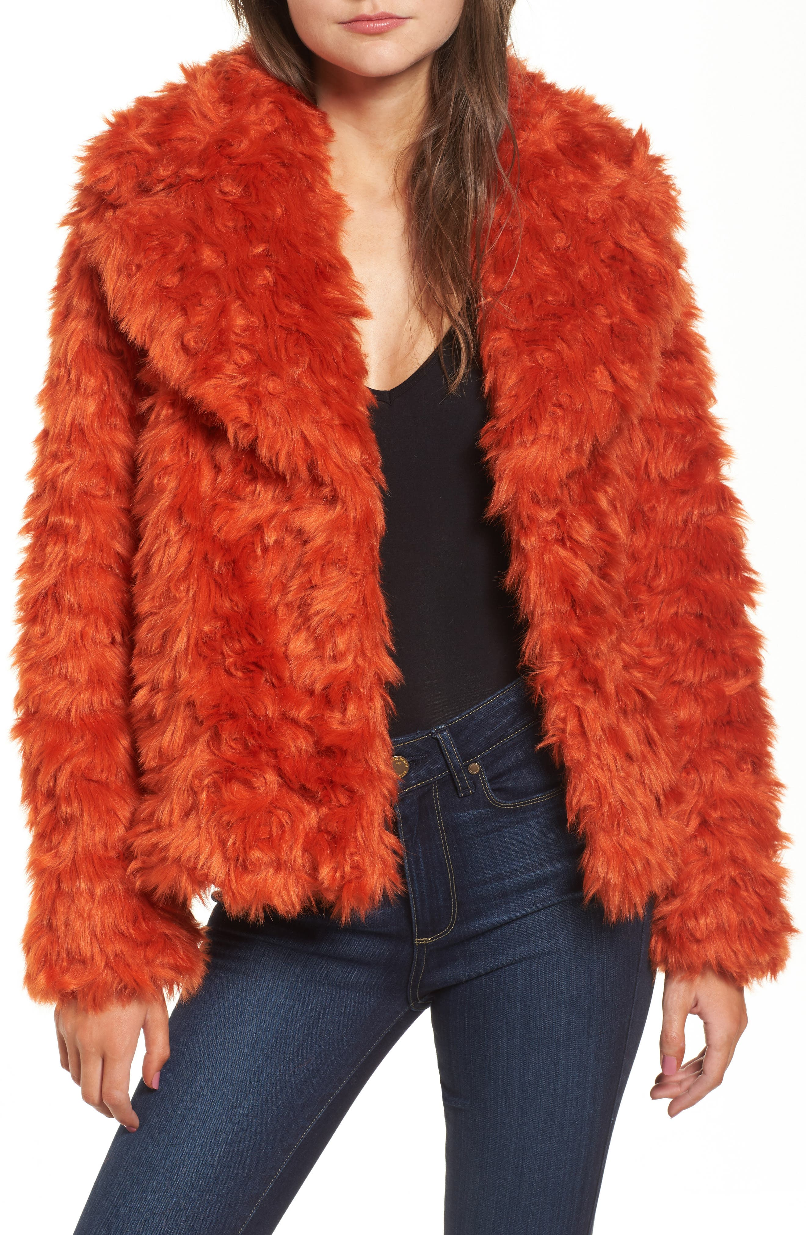 Curly Faux Fur Jacket,                         Main,                         color, Orange