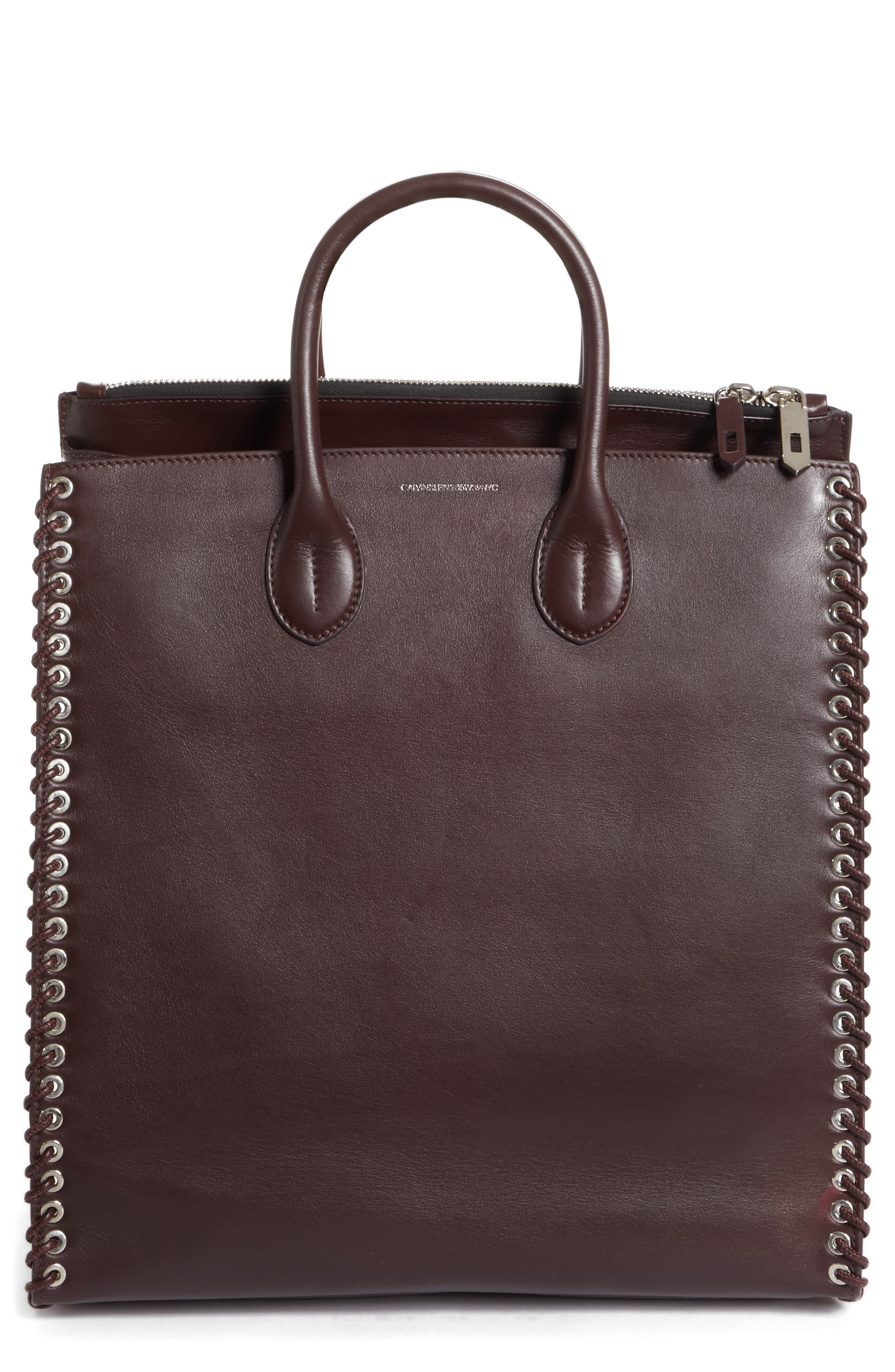 Whipstitch Calfskin Tote,                         Main,                         color, Bordeaux