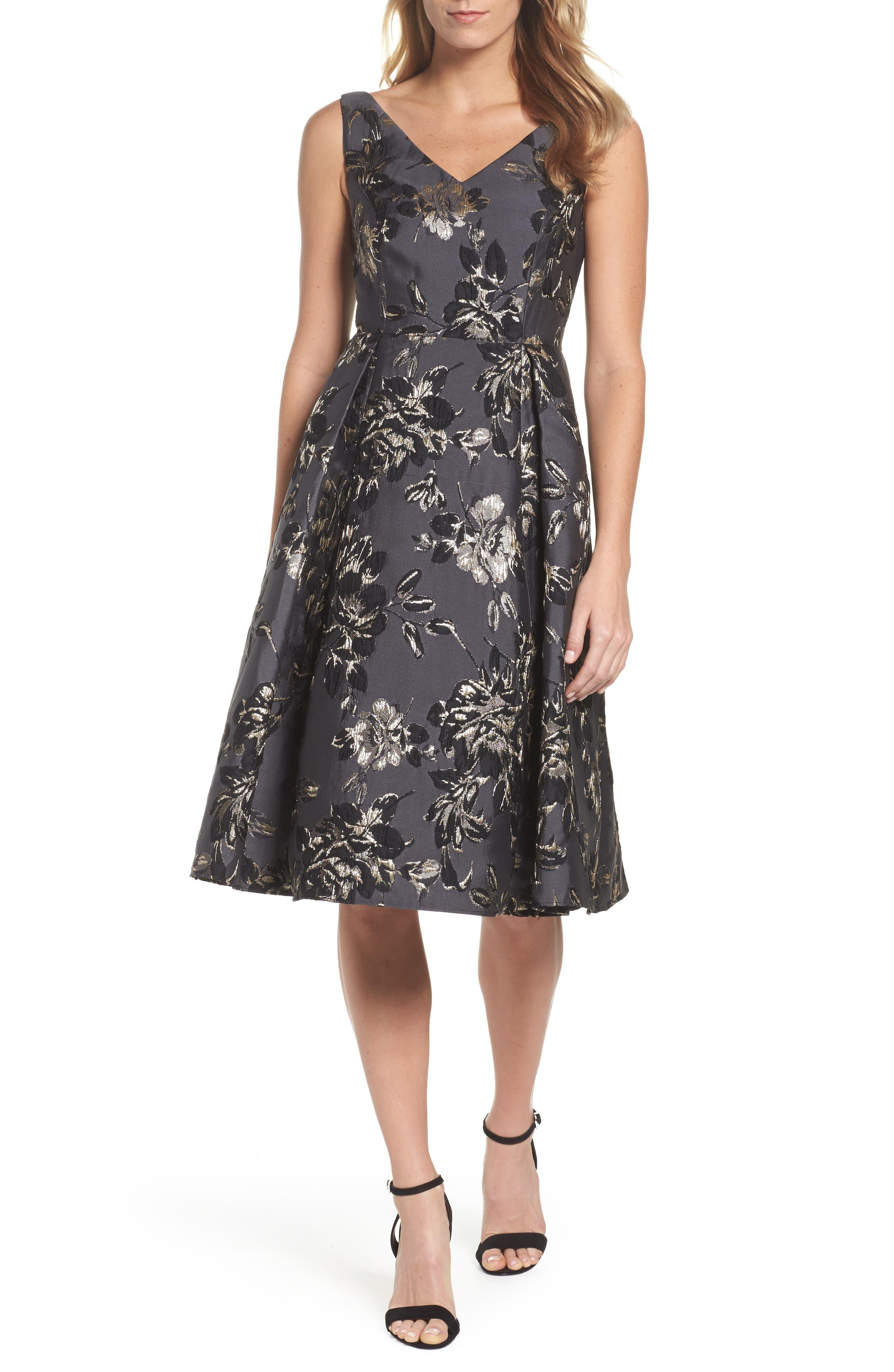 Jessa Fit & Flare Dress,                             Main thumbnail 1, color,                             Black Multi