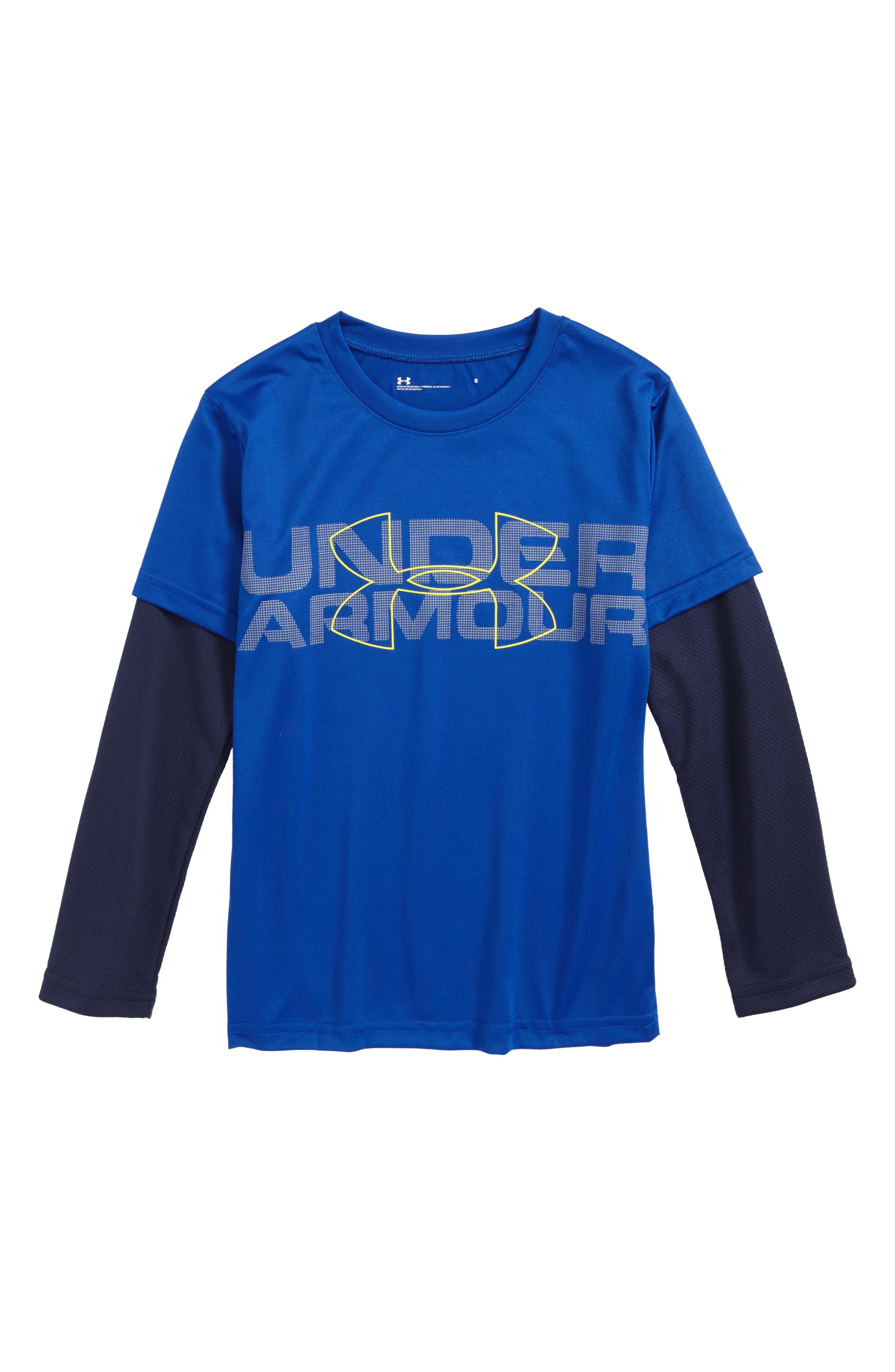 Alternate Image 1 Selected - Under Armour Wordmark Slider Layered T-Shirt (Toddler Boys & Little Boys)