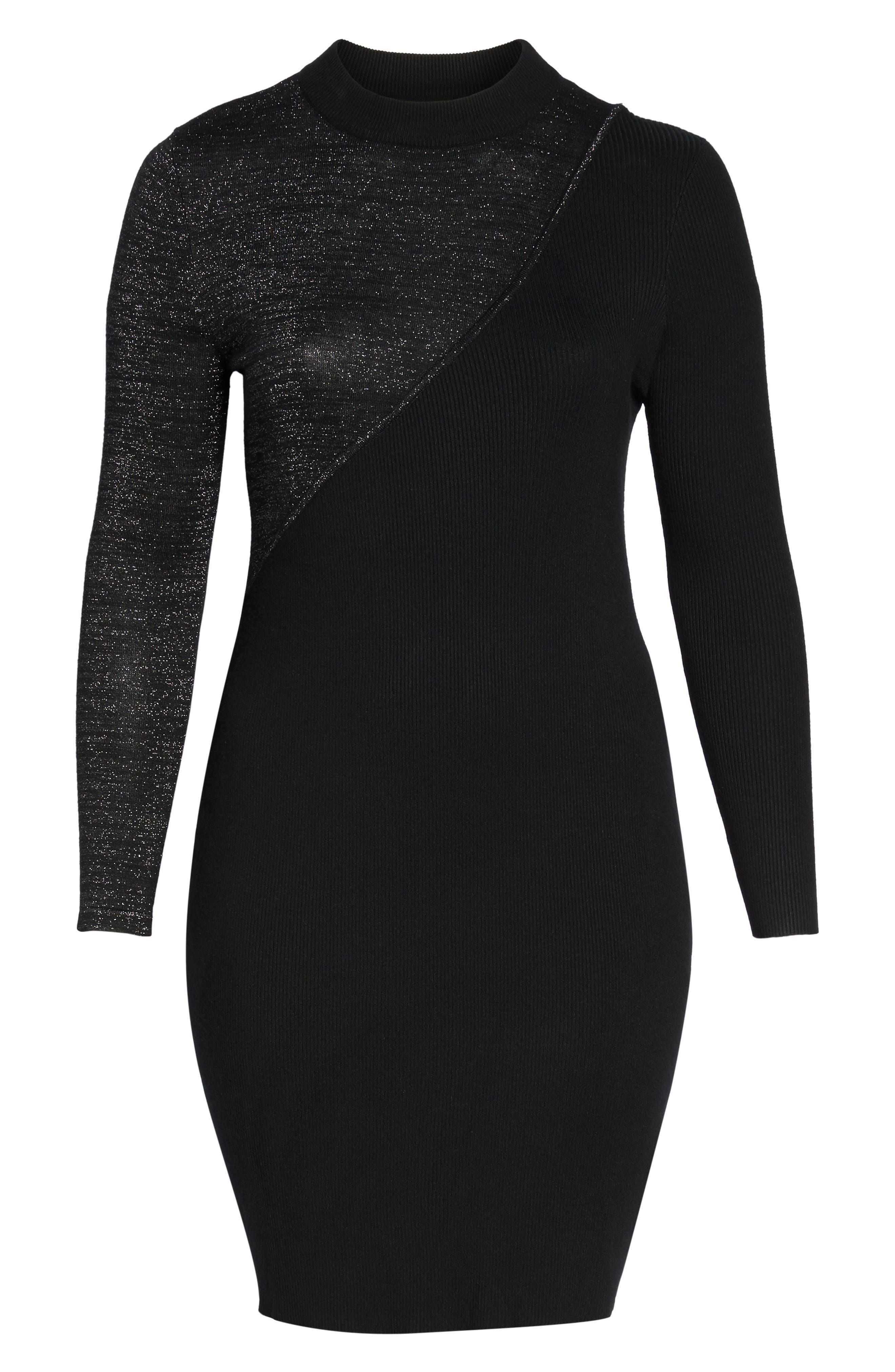 Glitter Colorblock Knit Body-Con Dress,                             Alternate thumbnail 6, color,                             Black