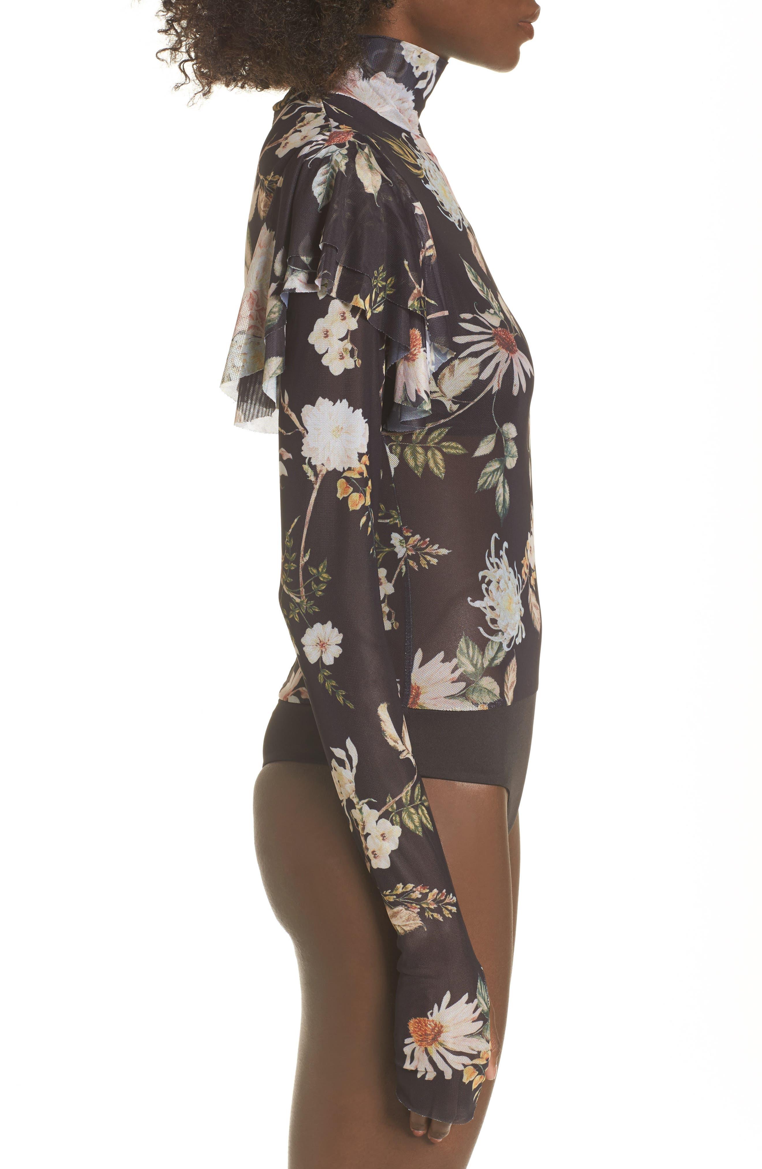 Esme Ruffle Mesh Bodysuit,                             Alternate thumbnail 3, color,                             Noir Floral