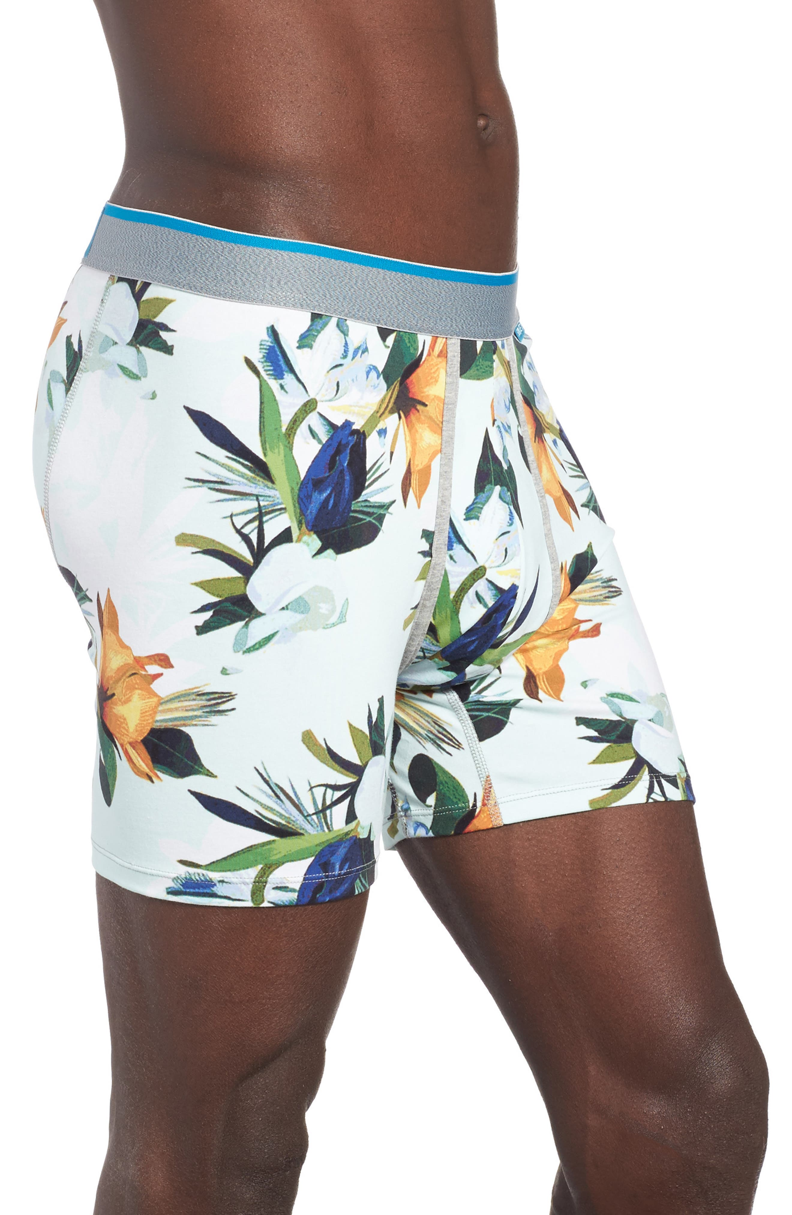 Aqua Floral Boxer Briefs,                             Alternate thumbnail 3, color,                             Medium Blue
