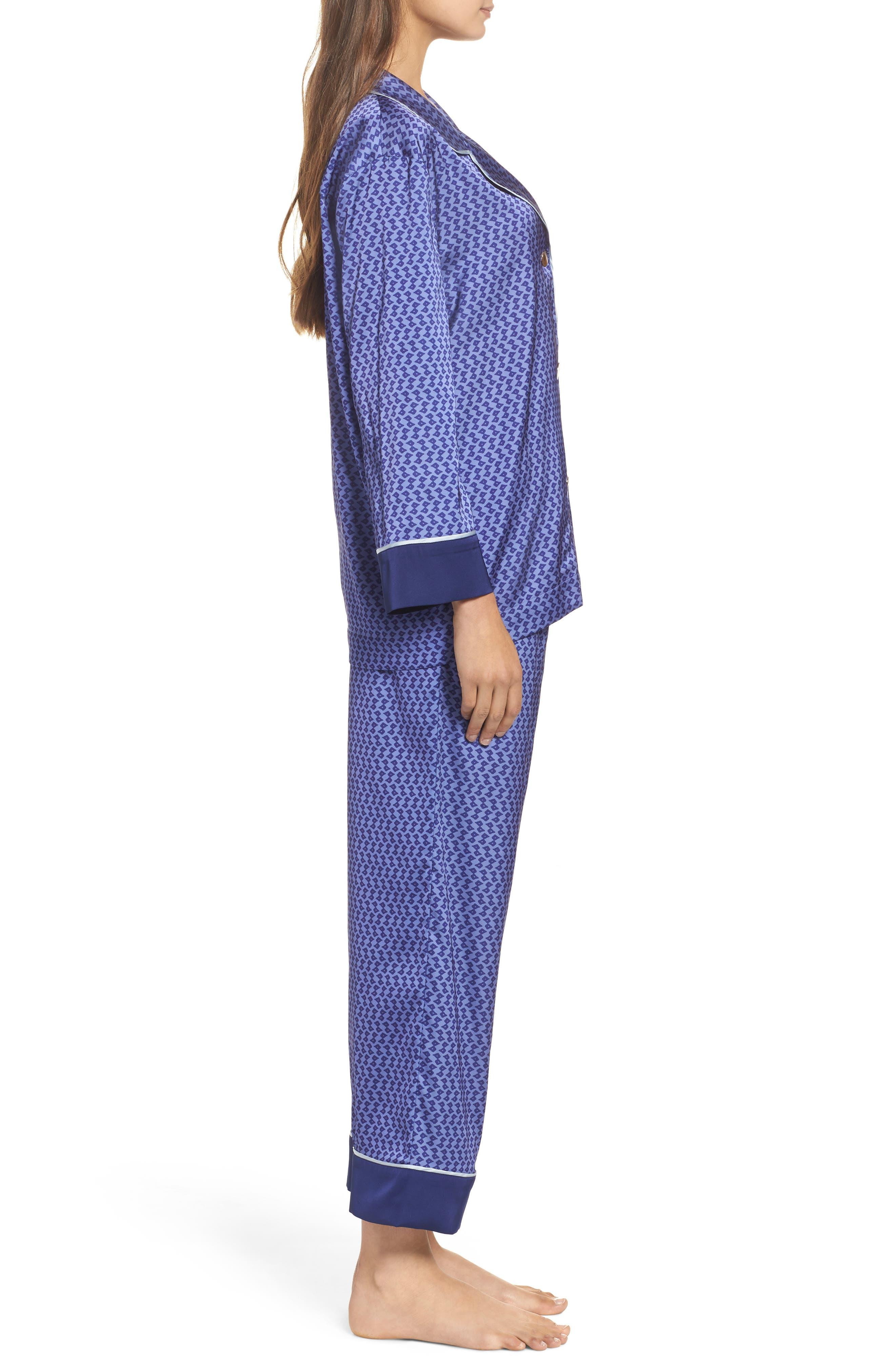 Satin Crop Pajamas,                             Alternate thumbnail 3, color,                             Dark Purple