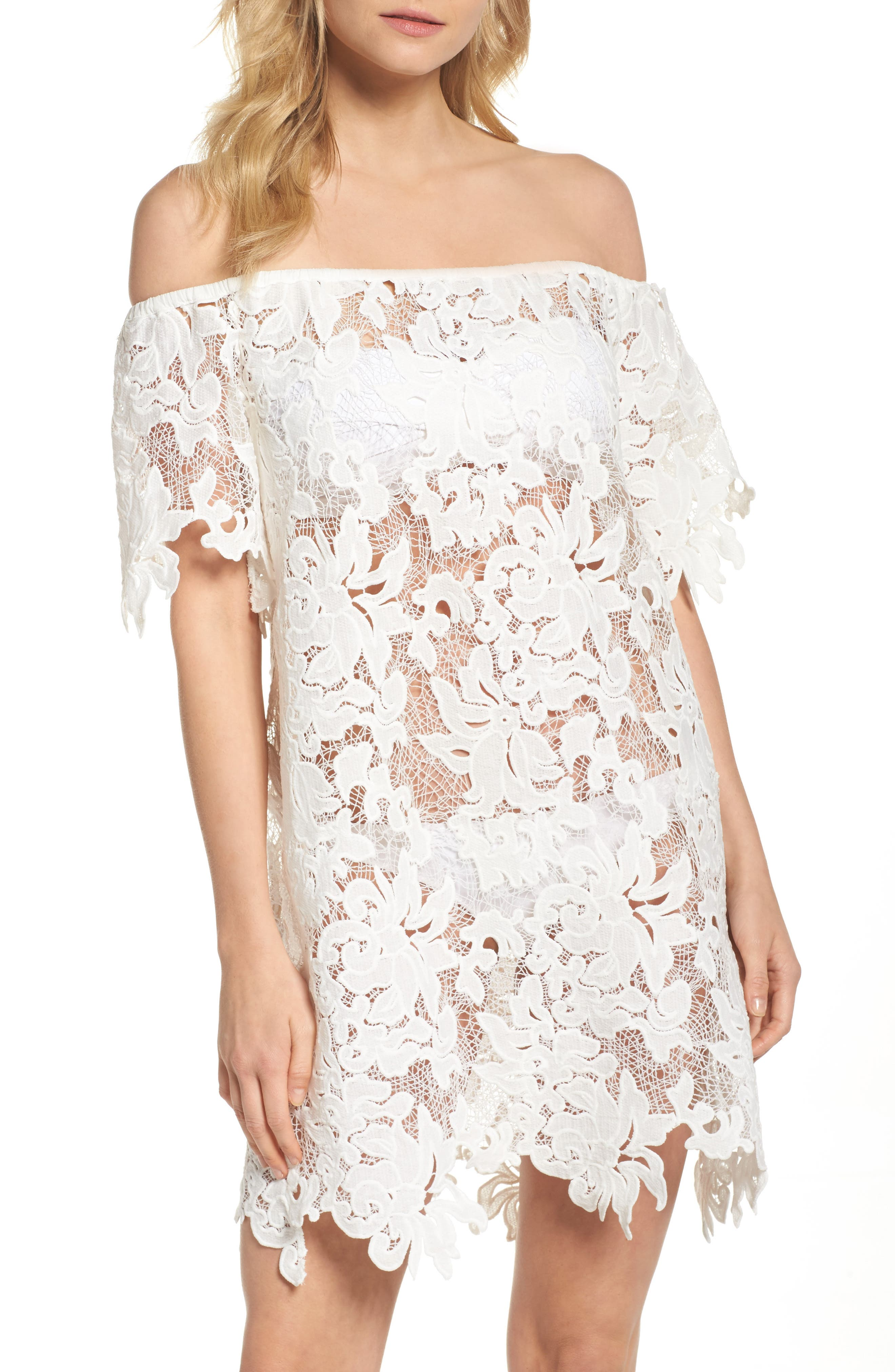 Ode Rosette Lace Cover-Up Dress,                             Main thumbnail 1, color,                             White