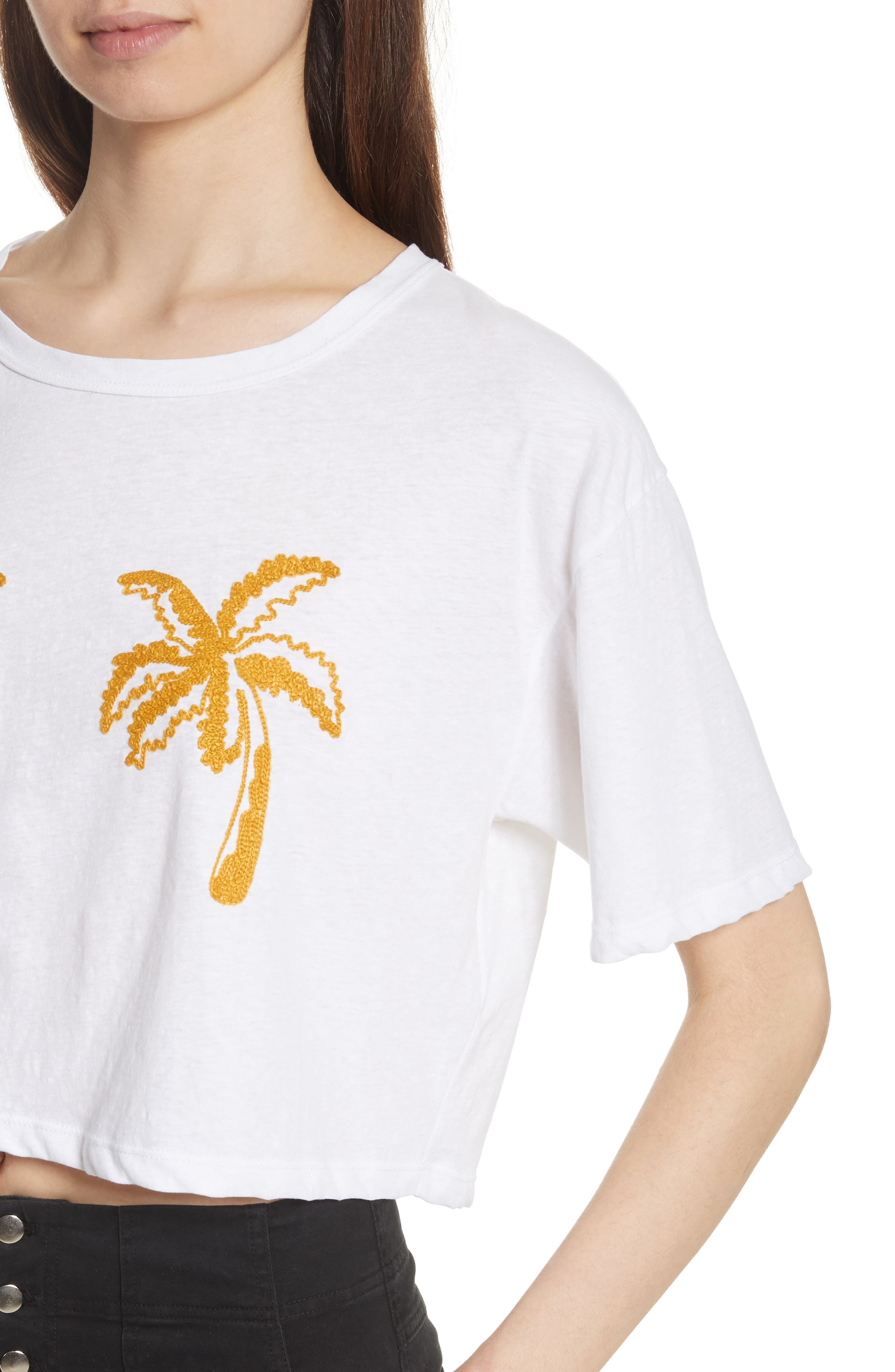 Teagan Palm Embroidered Crop Tee,                             Alternate thumbnail 4, color,                             White