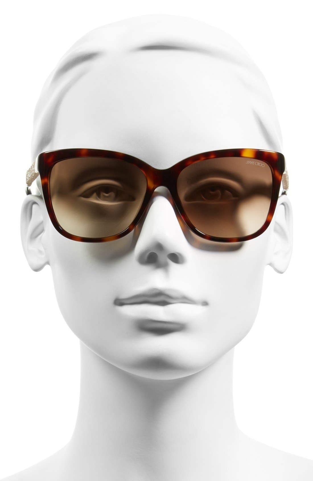 'Coras' 56mm Retro Sunglasses,                             Alternate thumbnail 2, color,                             Dark Havana