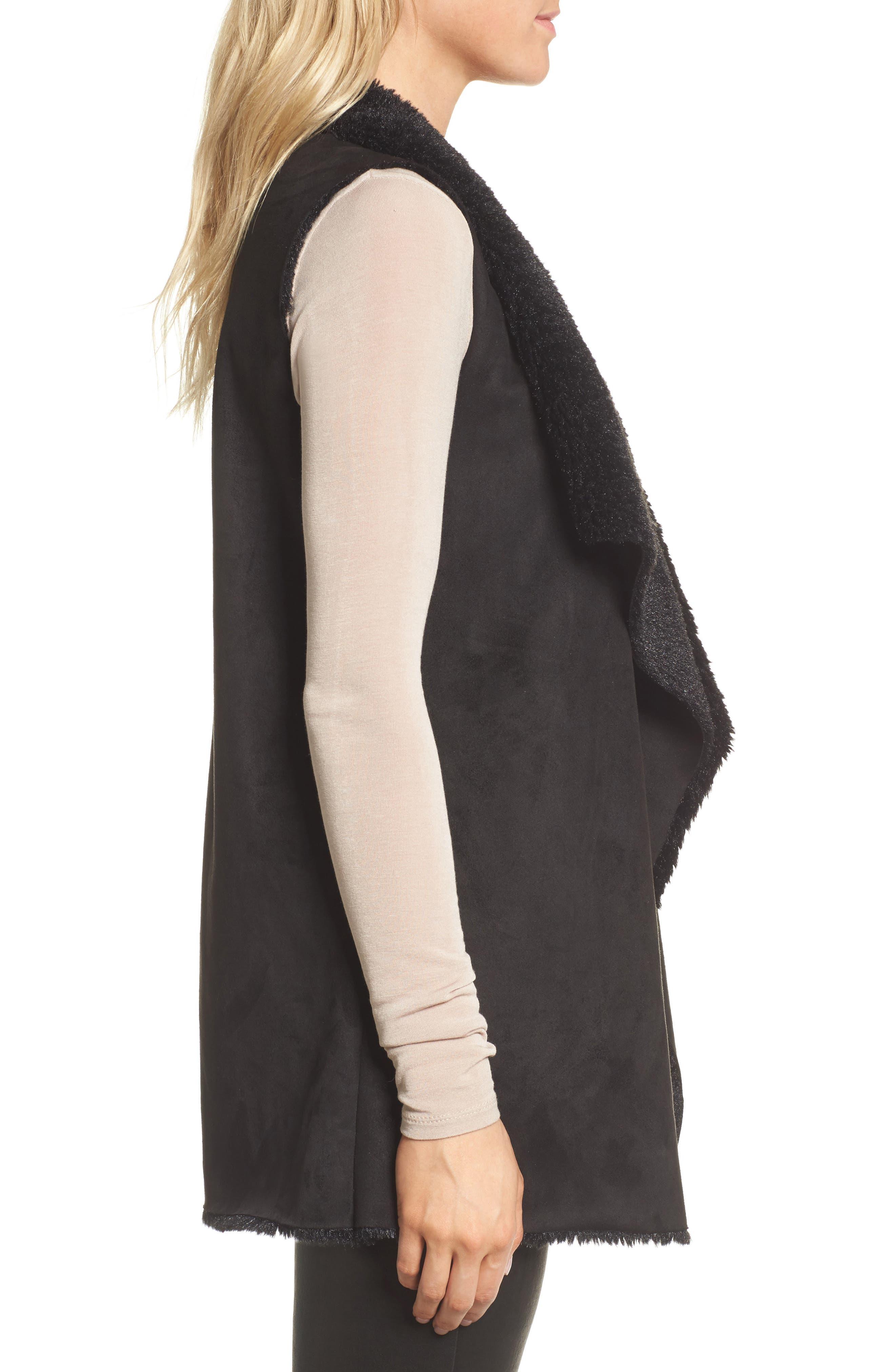 Avalonia Faux Shearling Vest,                             Alternate thumbnail 3, color,                             Black