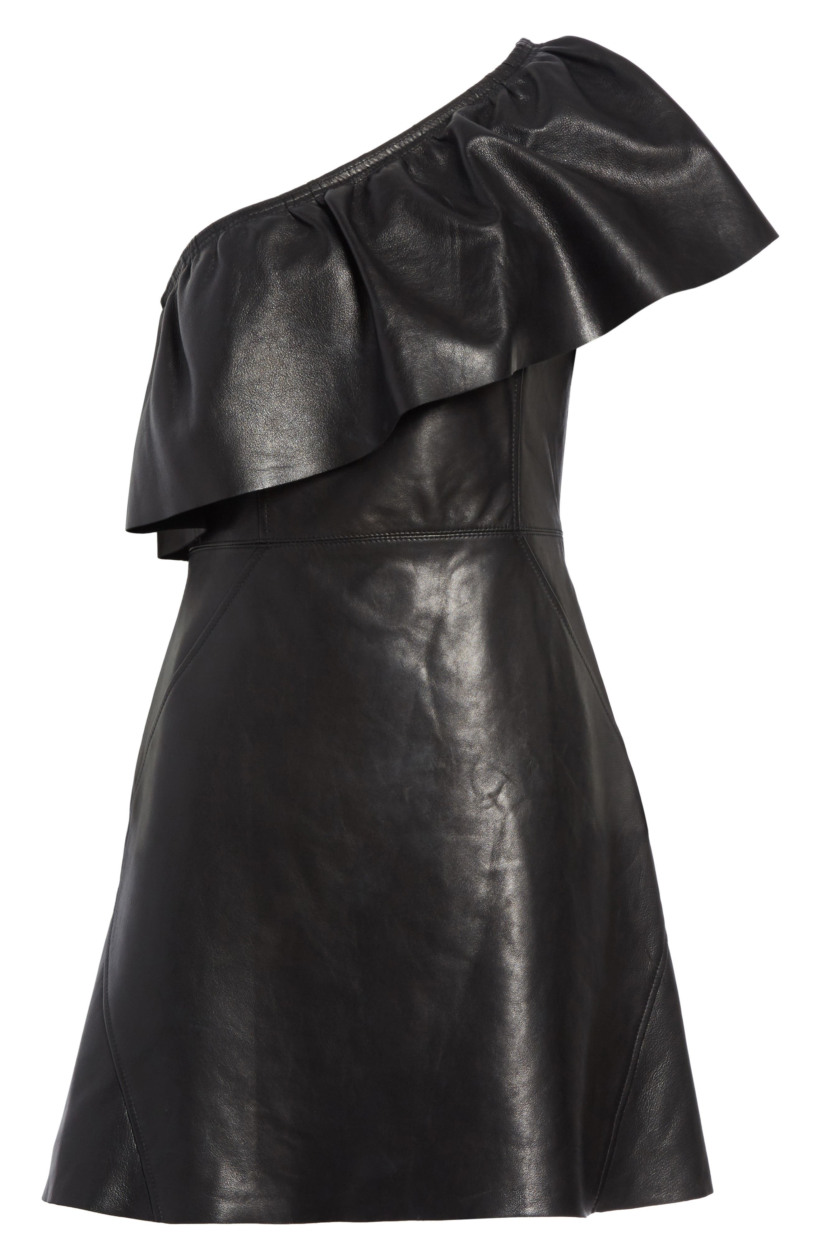 Kahlo Ruffle One-Shoulder Leather Dress,                             Alternate thumbnail 6, color,                             Black