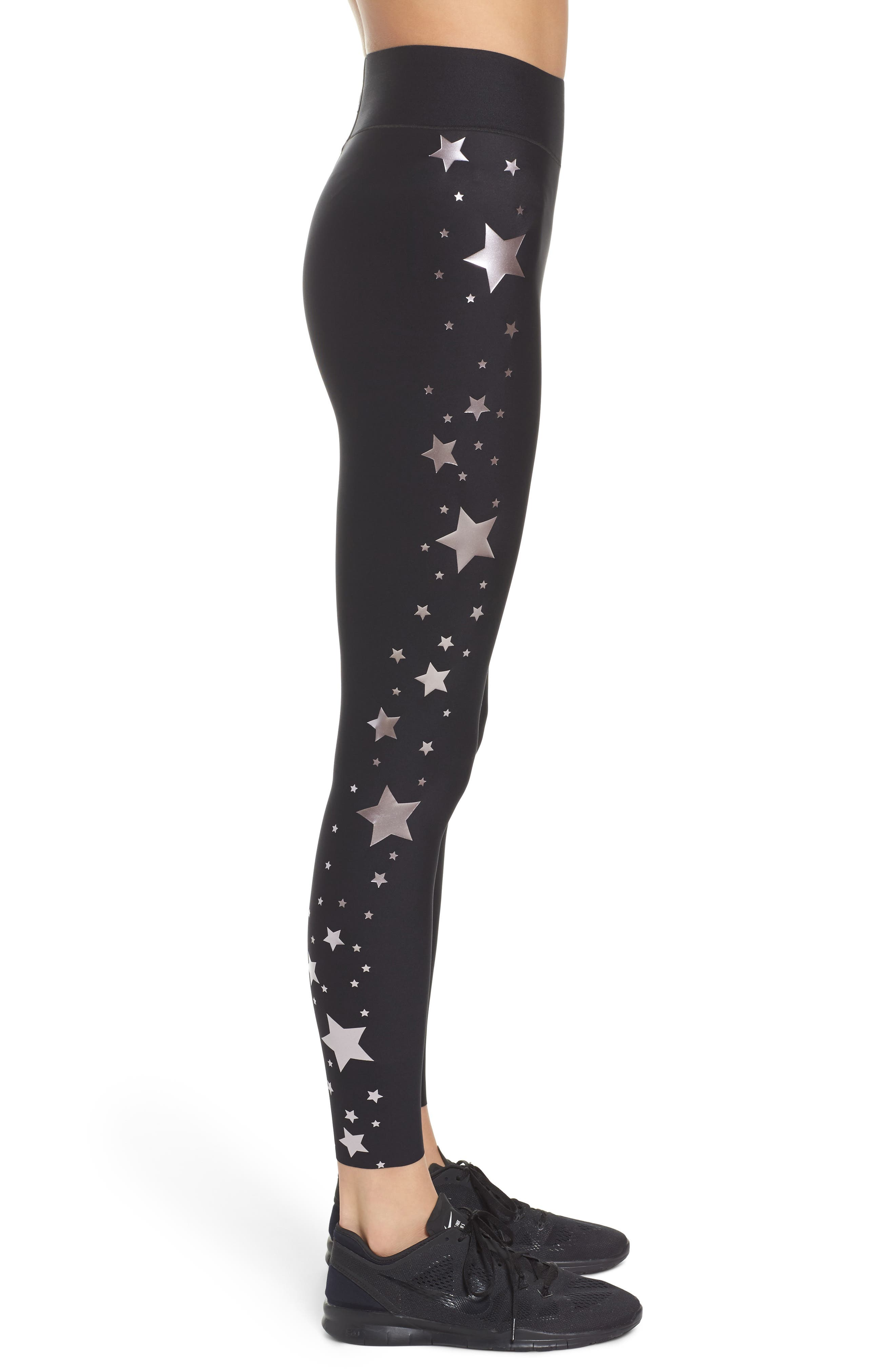 Lux Stellar High Waist Leggings,                             Alternate thumbnail 3, color,                             Nero Rose