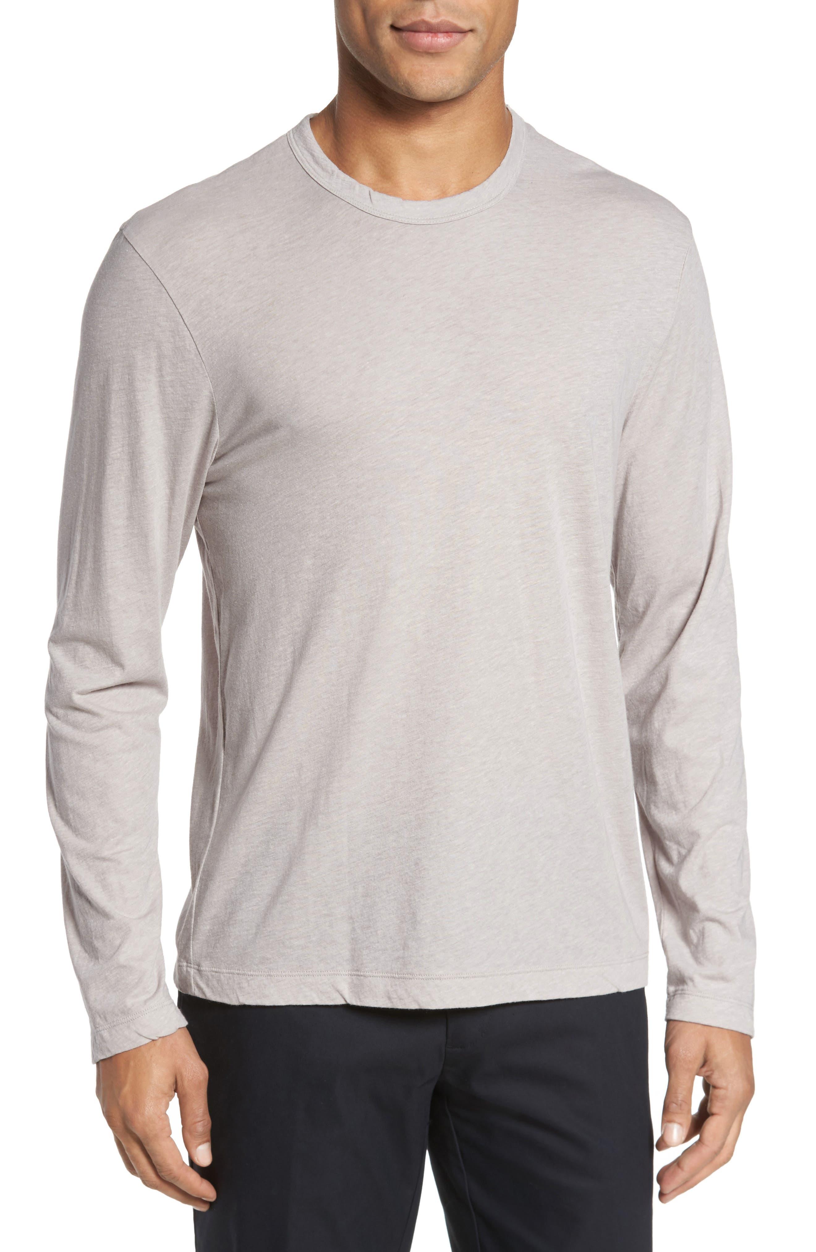 Mélange Long Sleeve Graphic T-Shirt,                         Main,                         color, Fossil Melange