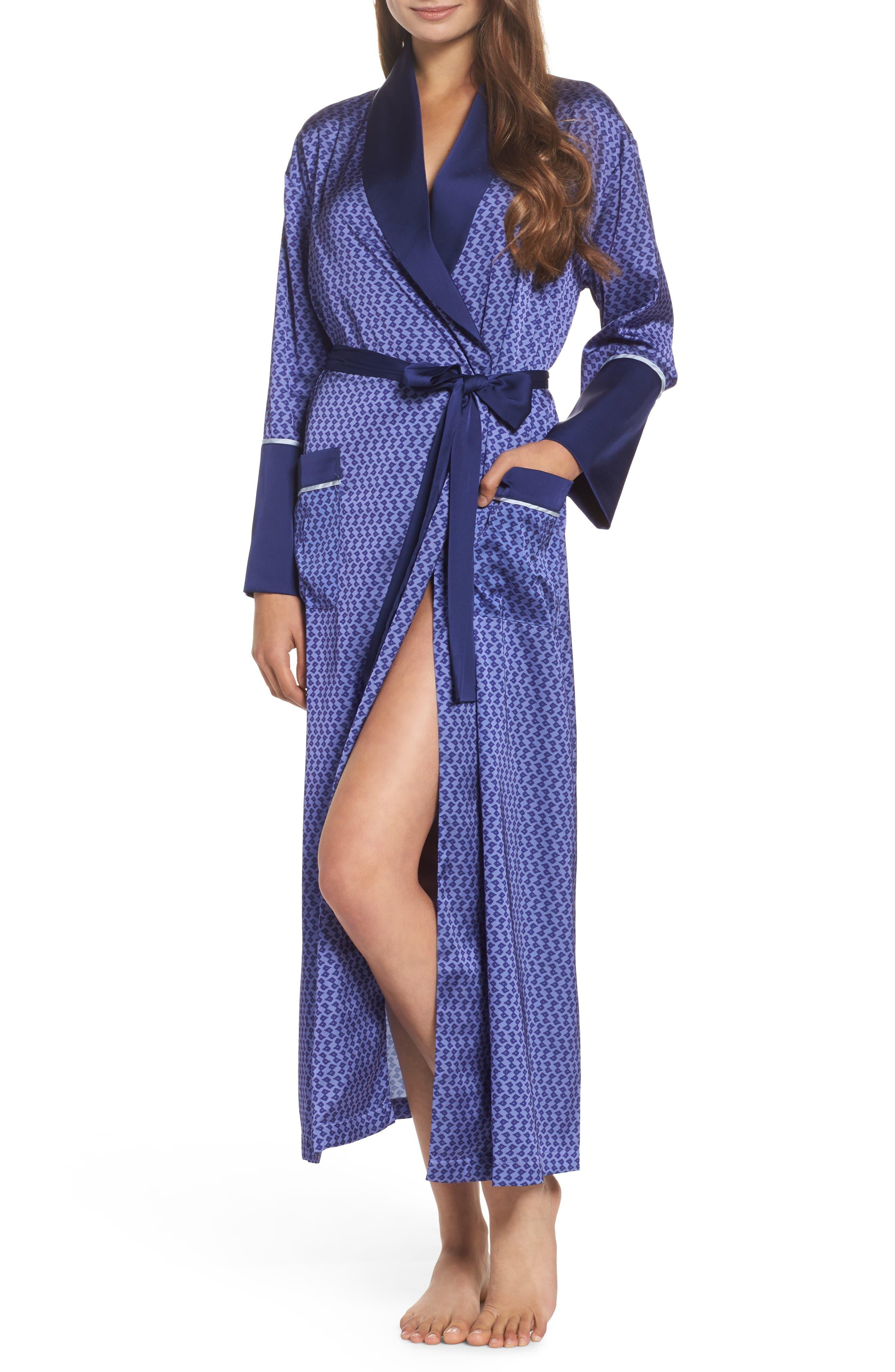 Satin Robe,                         Main,                         color, Dark Purple