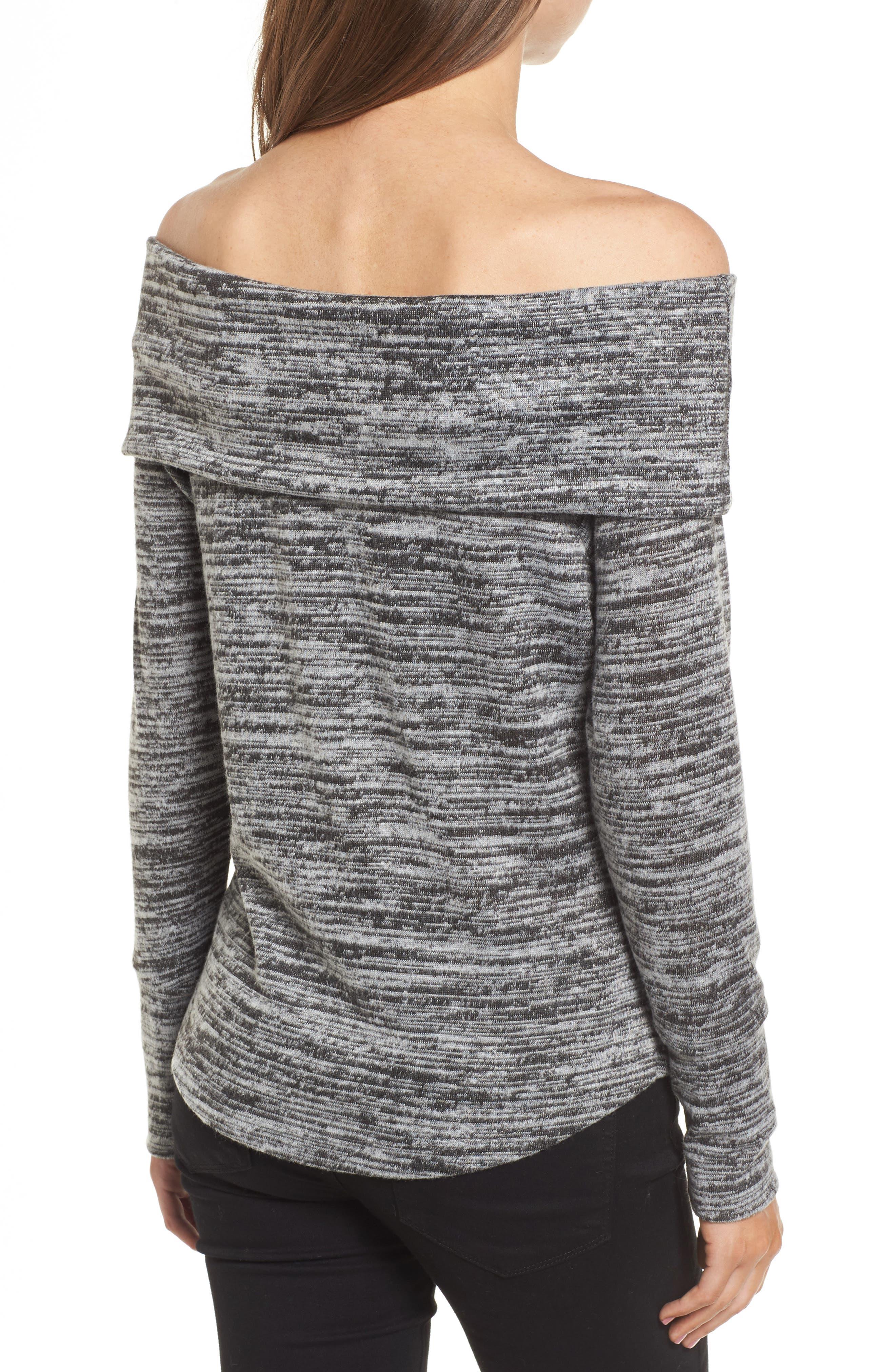 Off the Shoulder Sweatshirt,                             Alternate thumbnail 2, color,                             Grey/ Black