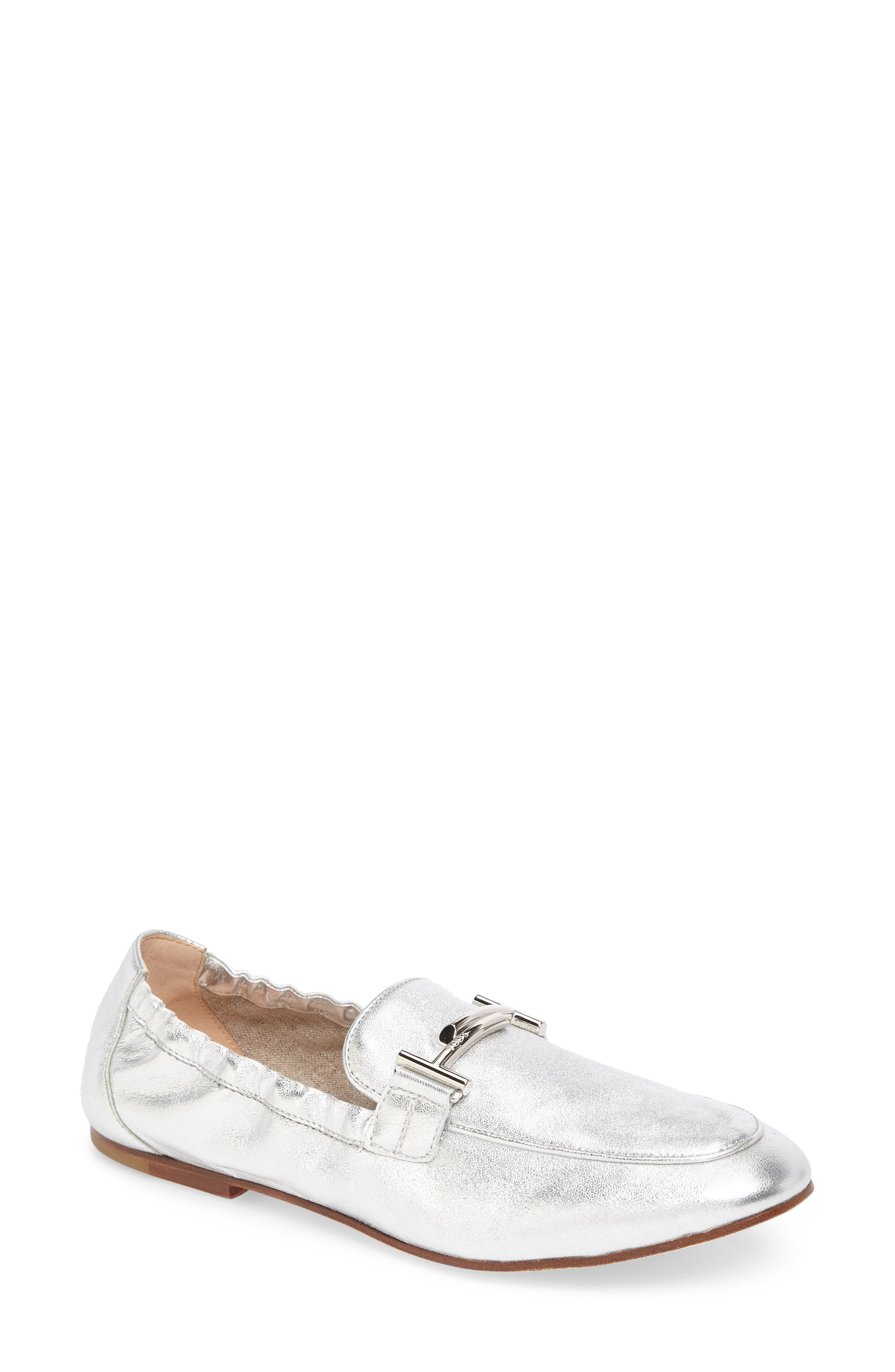 Double T Scrunch Loafer,                             Main thumbnail 1, color,                             Silver