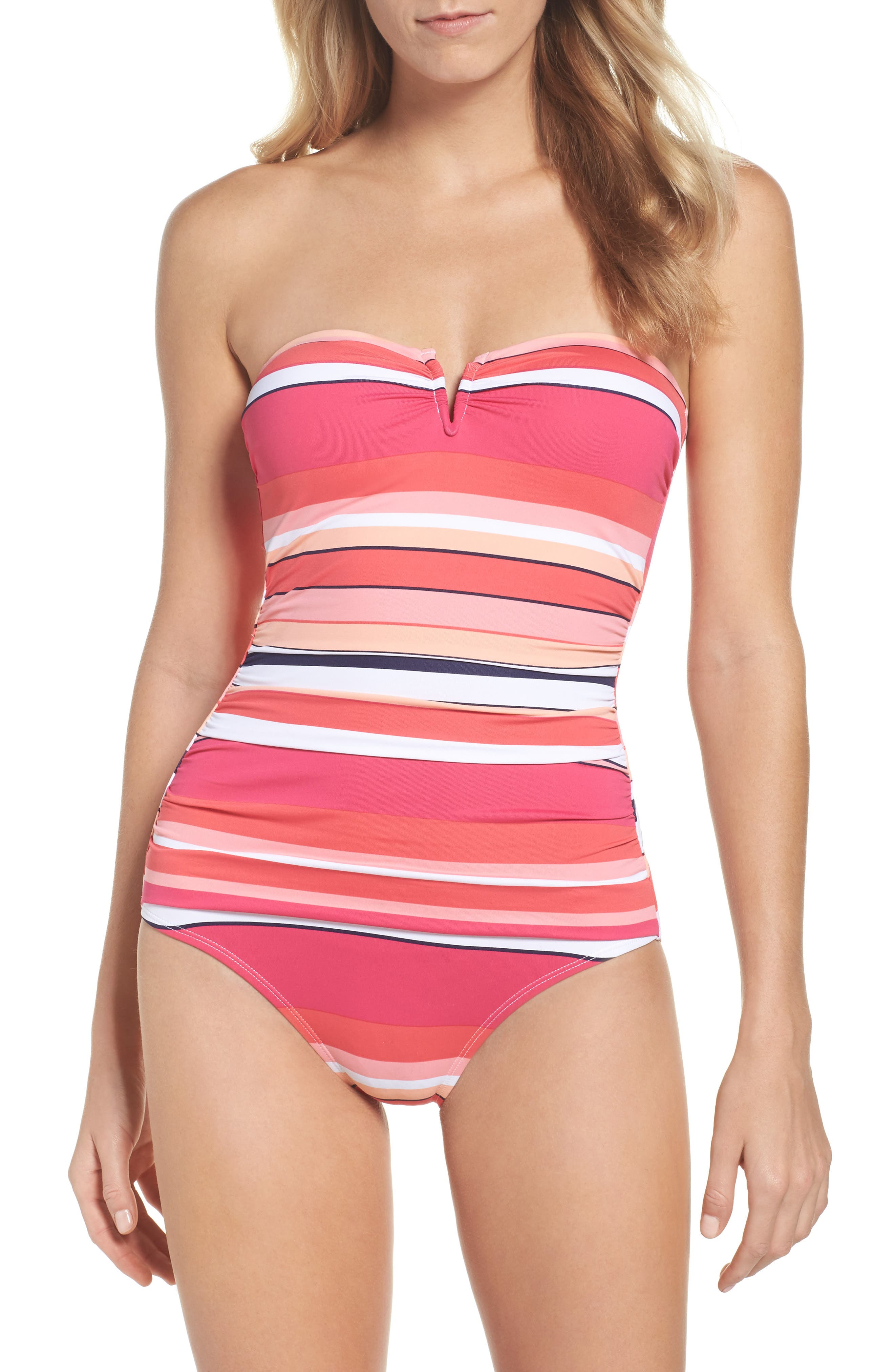Petals of Paradise One-Piece Swimsuit,                         Main,                         color, Coral Glow