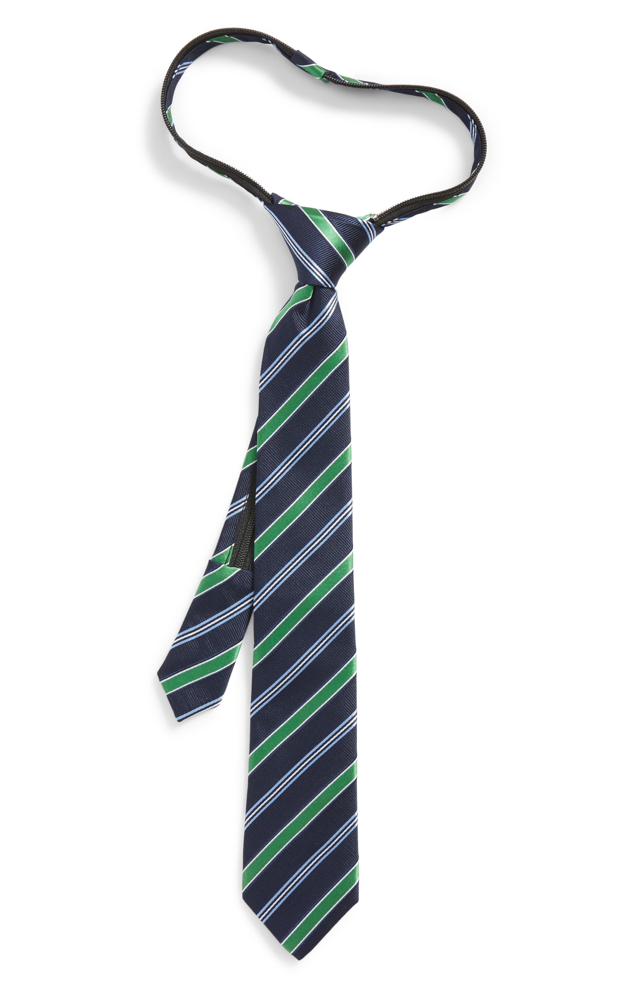 Stripe Silk Zip Tie,                         Main,                         color, Green