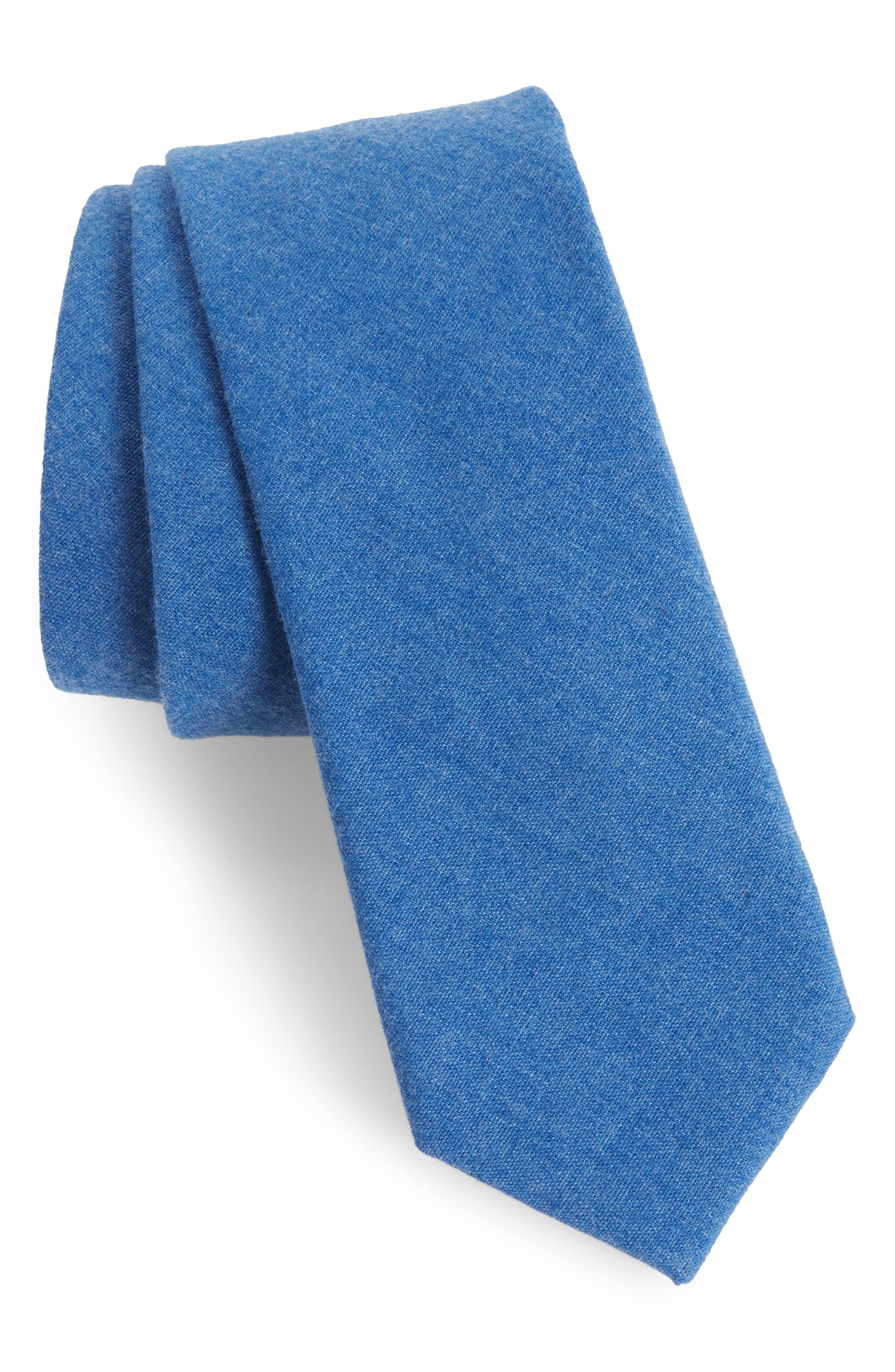 Bert Solid Cotton Skinny Tie,                             Main thumbnail 1, color,                             Blue