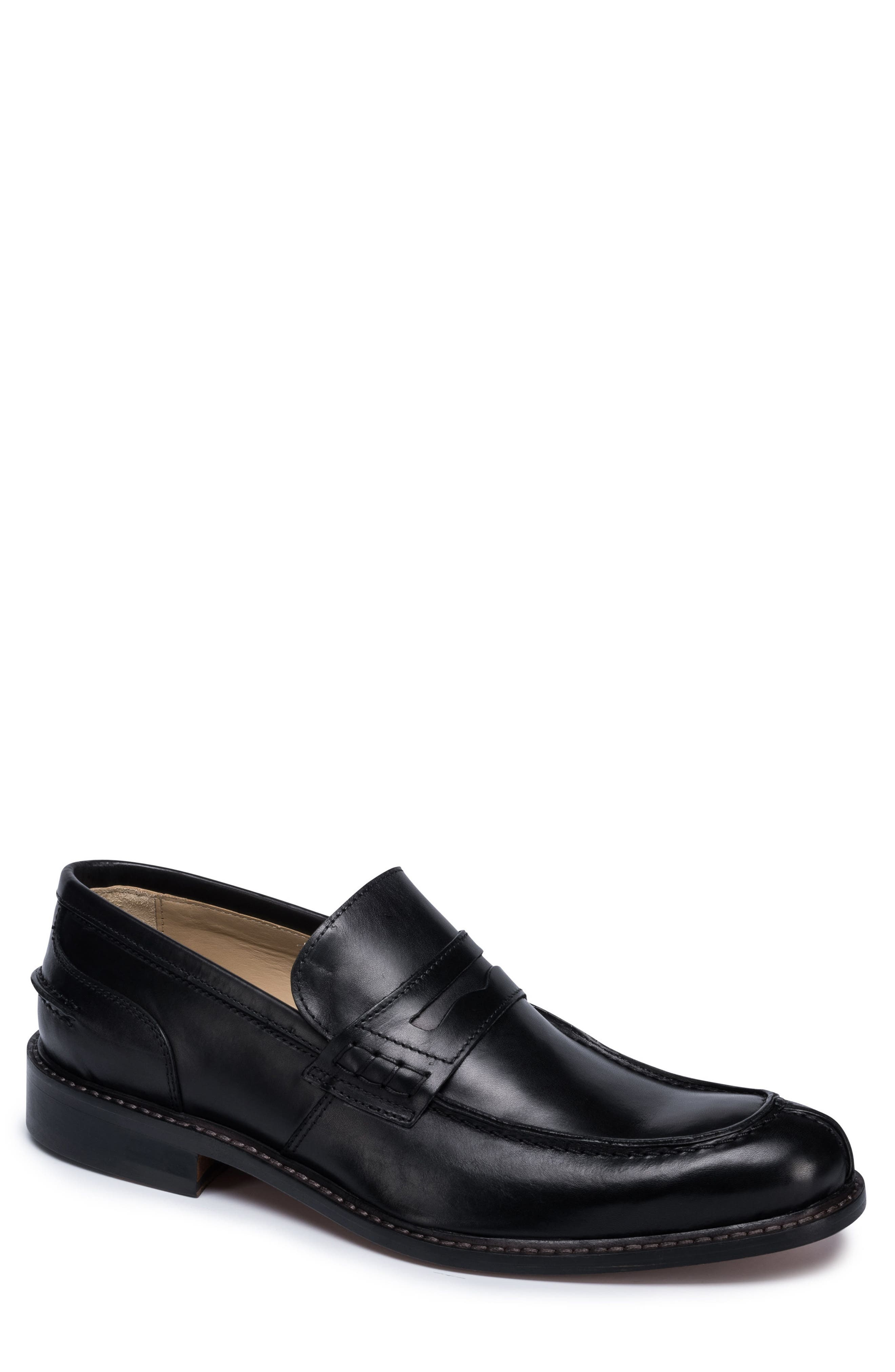 Apron Toe Penny Loafer,                         Main,                         color, Nero Leather