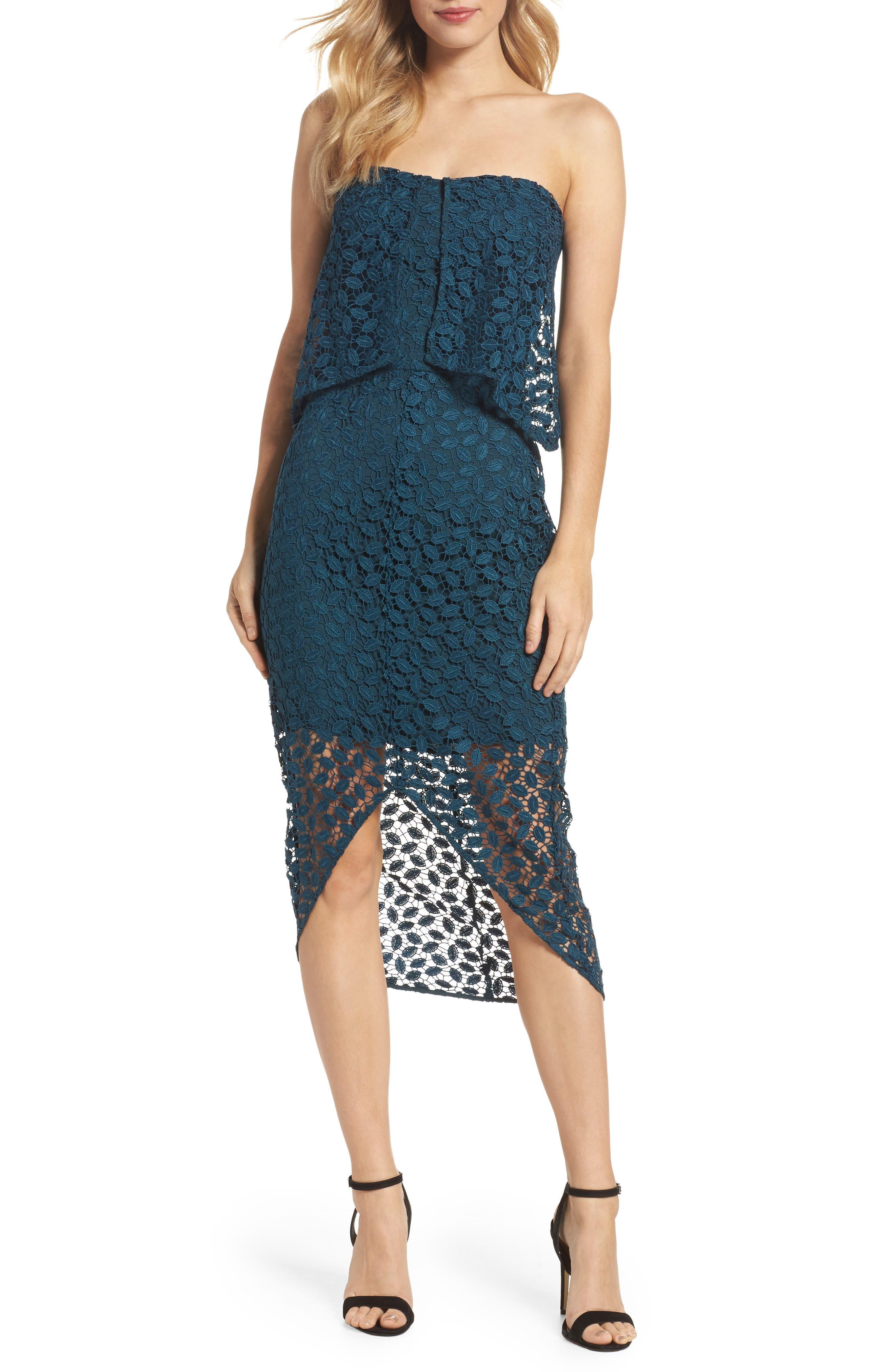Strapless Popover Dress,                         Main,                         color, Teal Gazer