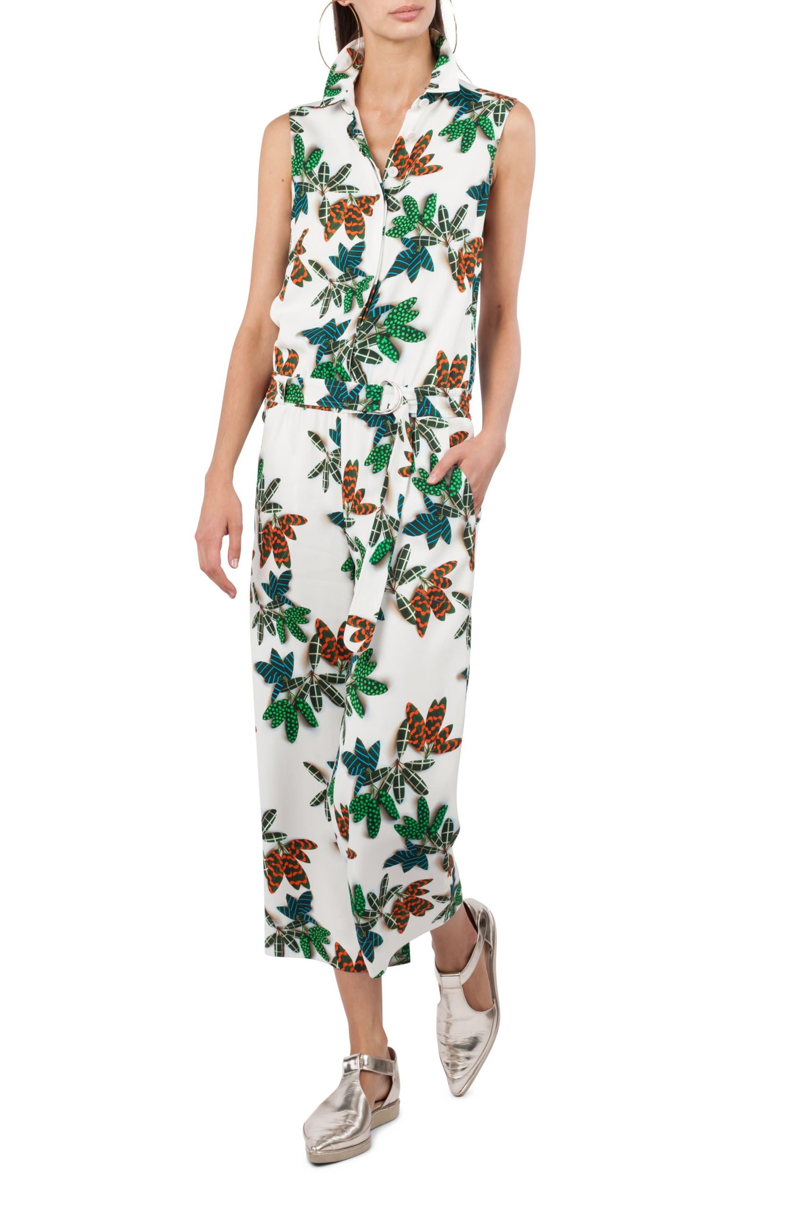 Tropical Print Jumpsuit,                             Main thumbnail 1, color,                             Cream Multi