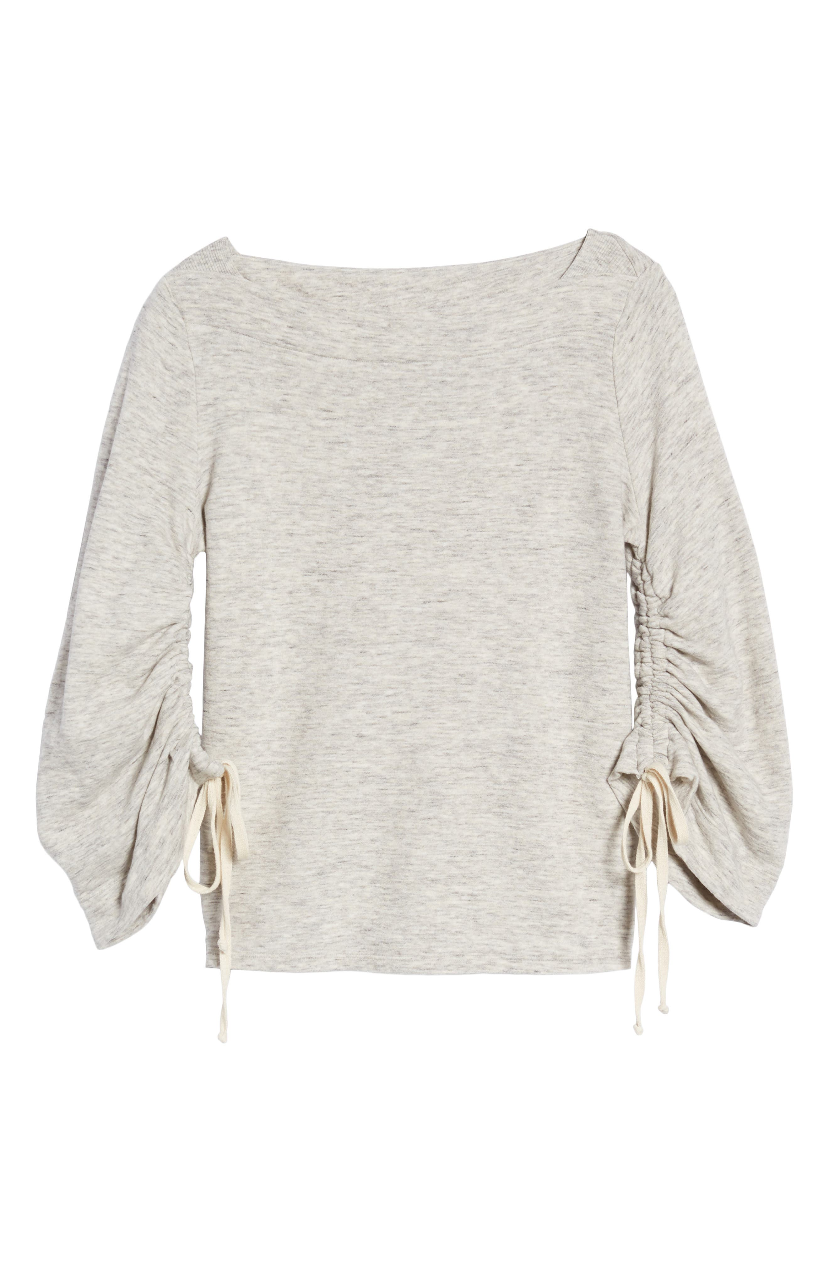 Ruched Sleeve Sweatshirt,                             Alternate thumbnail 6, color,                             Heather Grey