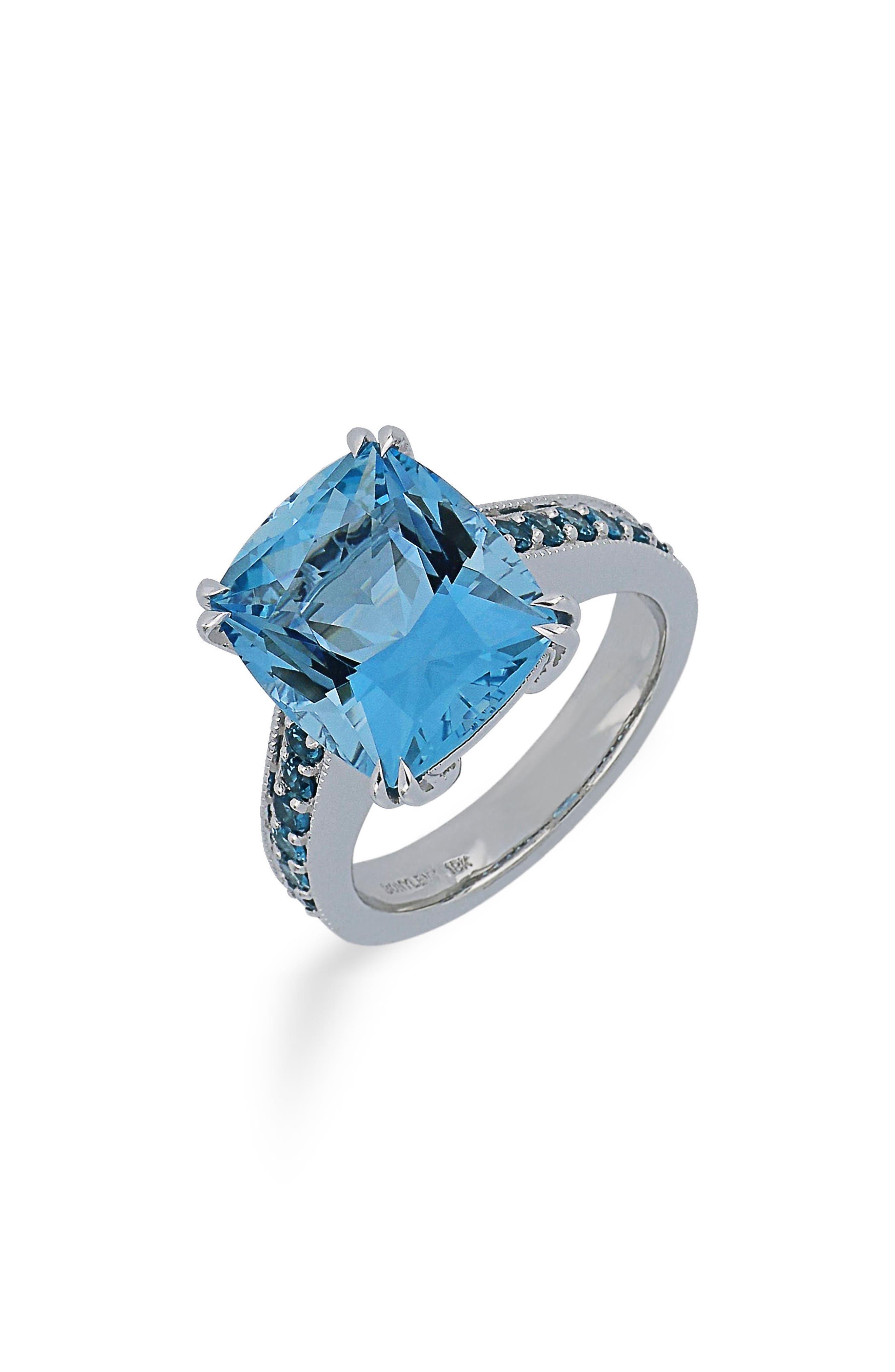 Aquamarine & Blue Topaz Ring,                         Main,                         color, White Gold
