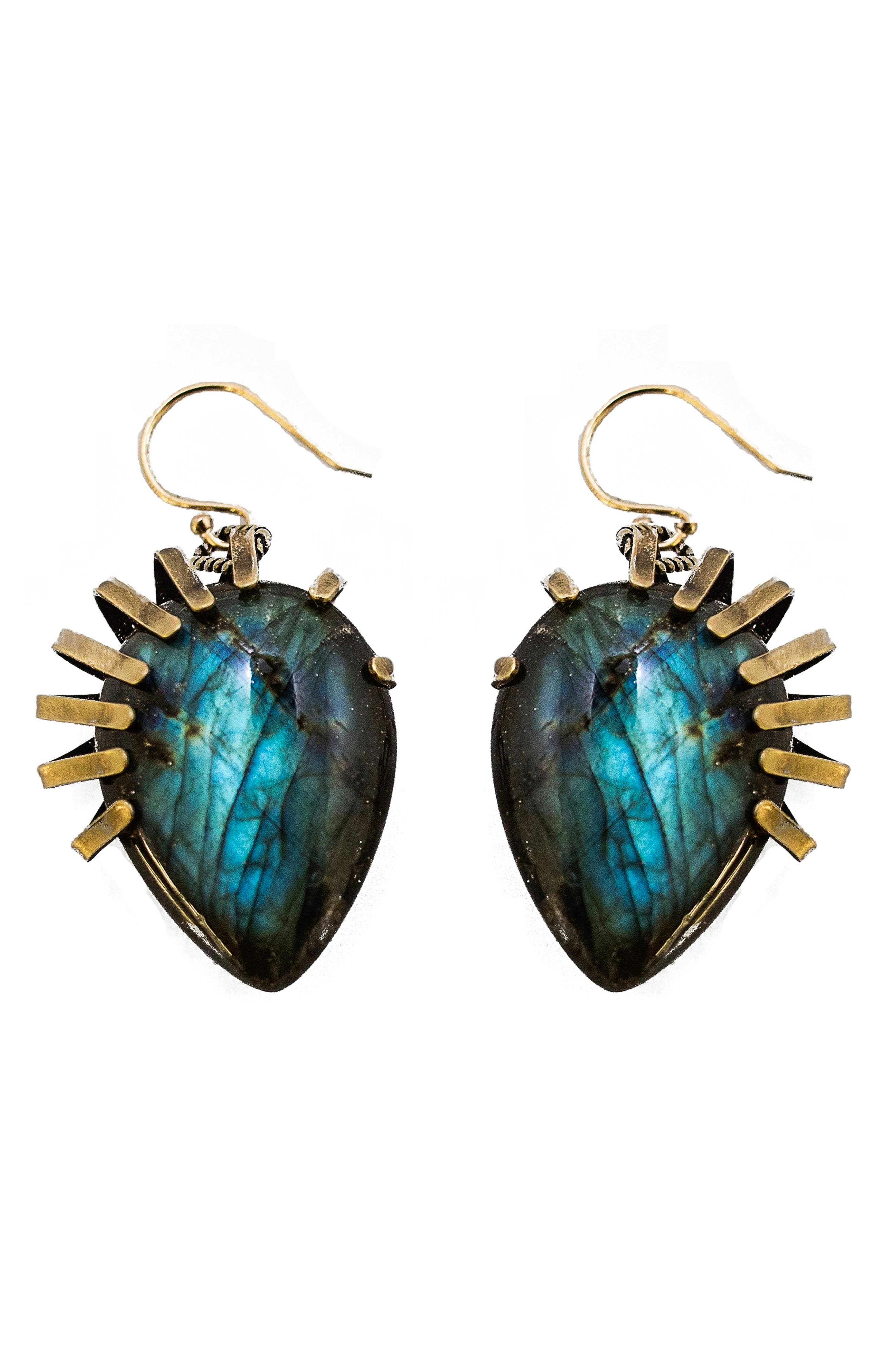 Labradorite Drop Earrings,                             Main thumbnail 1, color,                             Blue/ Green/ Bronze