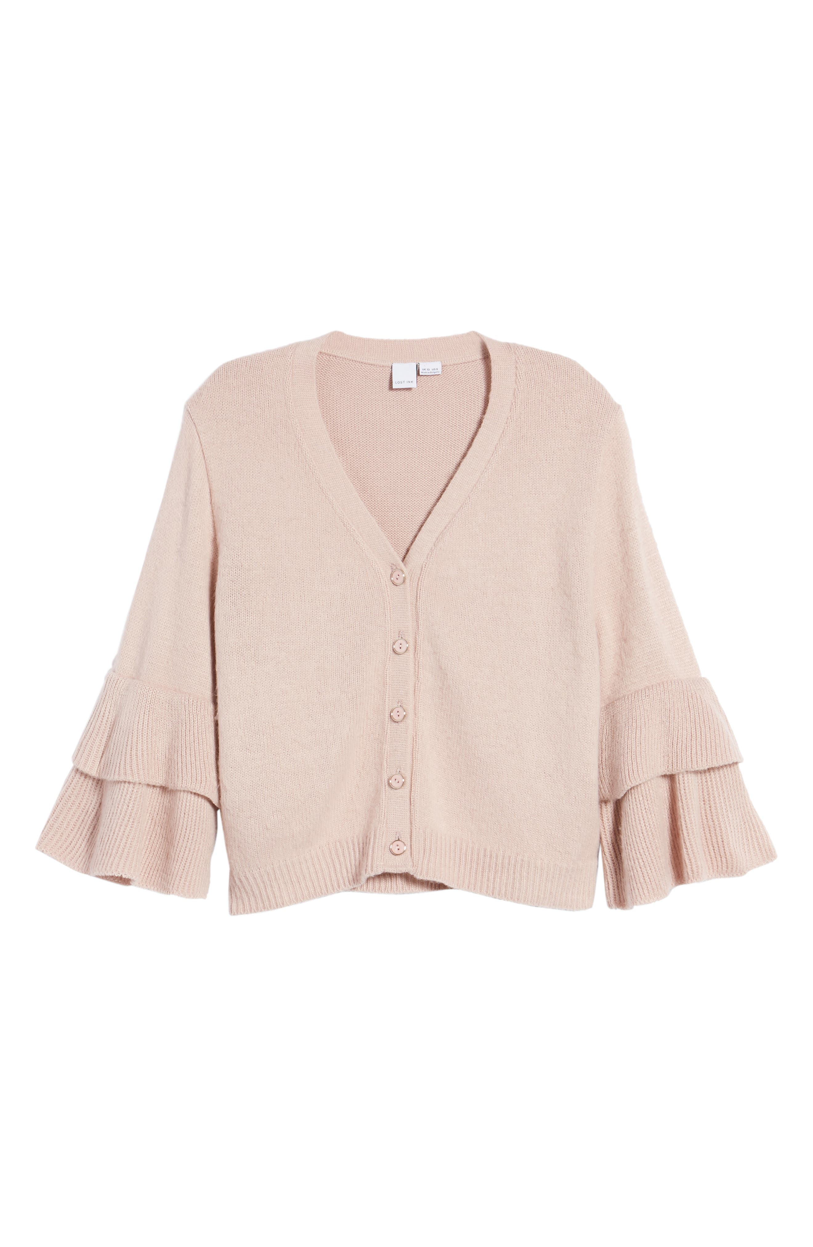 Tiered Sleeve Cardigan,                             Alternate thumbnail 7, color,                             Pink