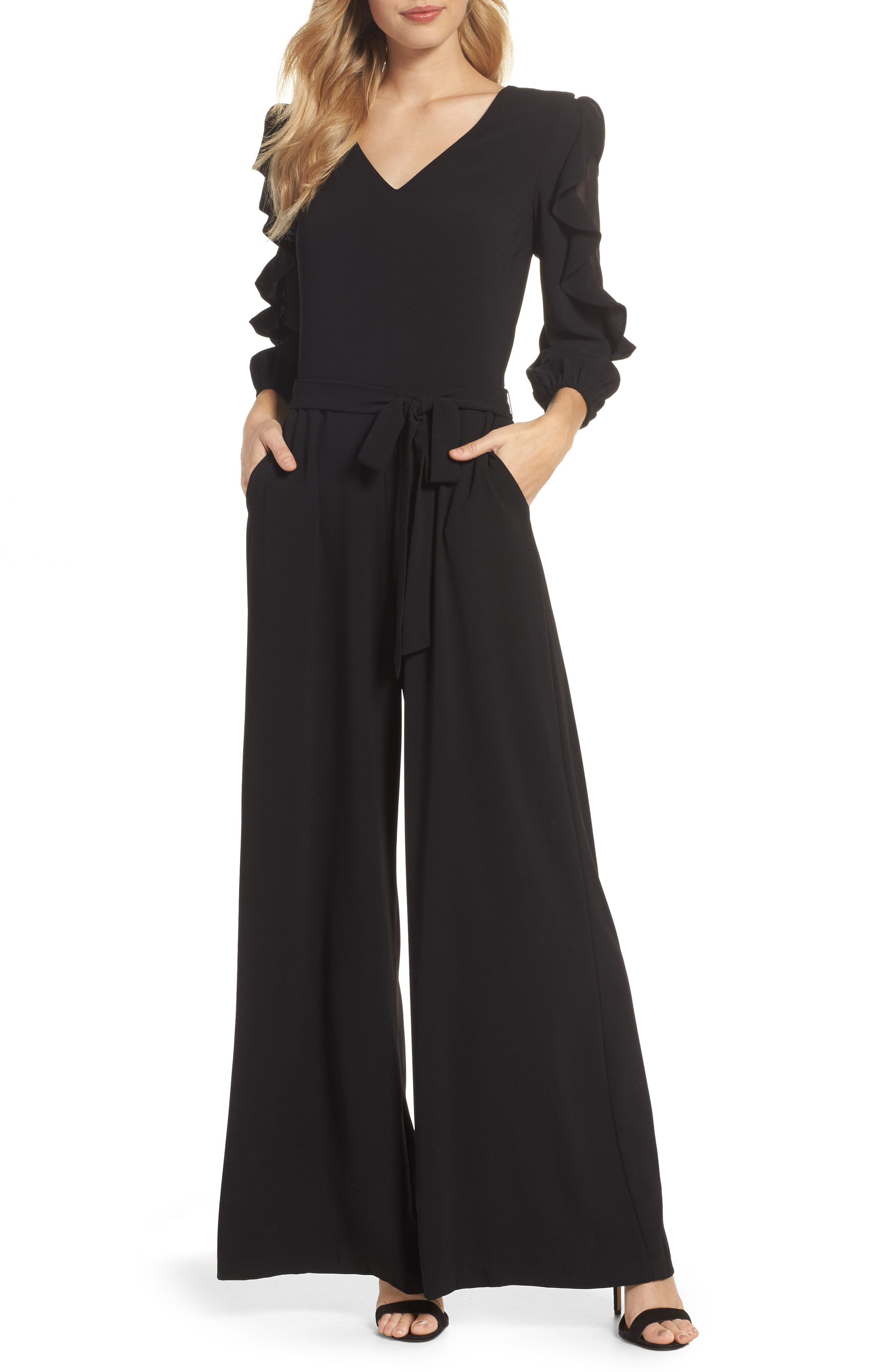 Tiered Sleeve Jumpsuit,                         Main,                         color, Black