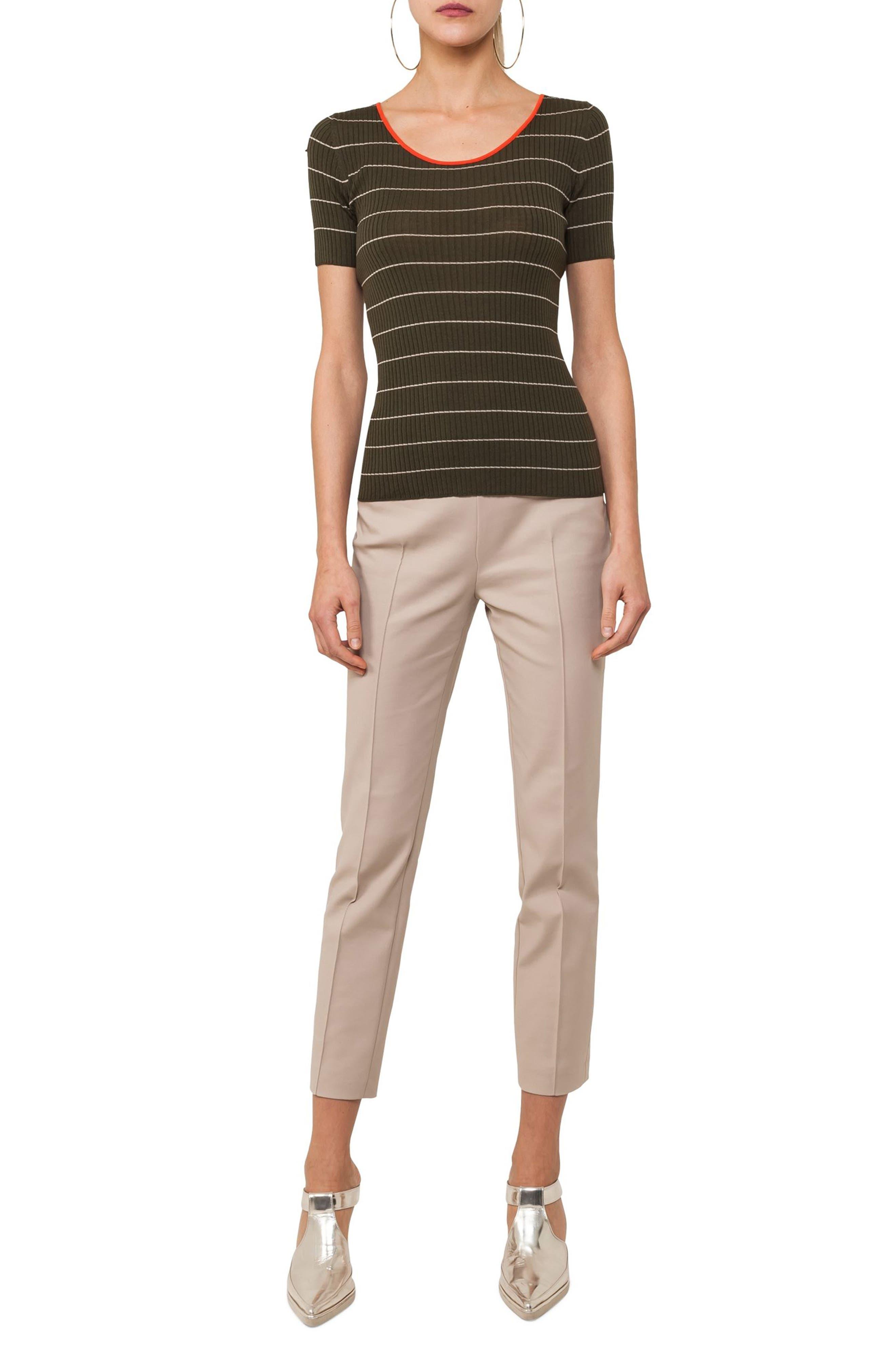 Tricolor Stripe Knit Tee,                             Alternate thumbnail 5, color,                             Avocado / Sand / Papaya