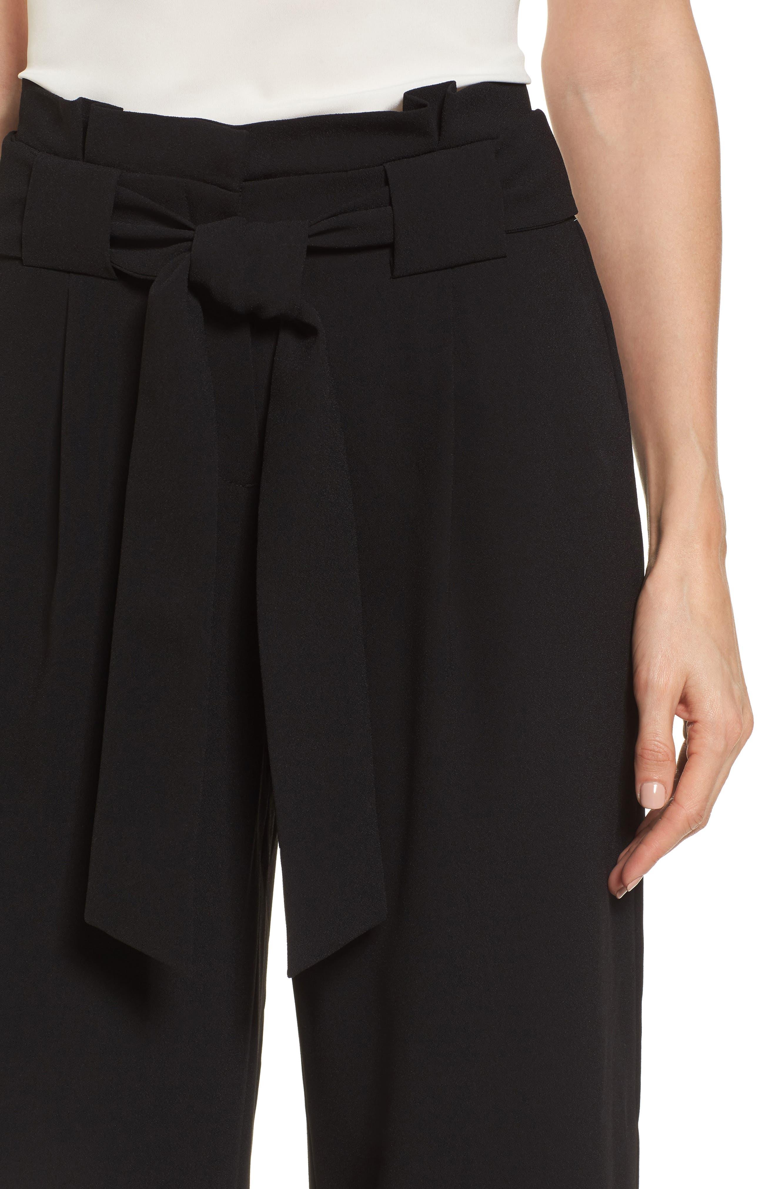 Belted Wide Leg Crop Pants,                             Alternate thumbnail 7, color,                             Black