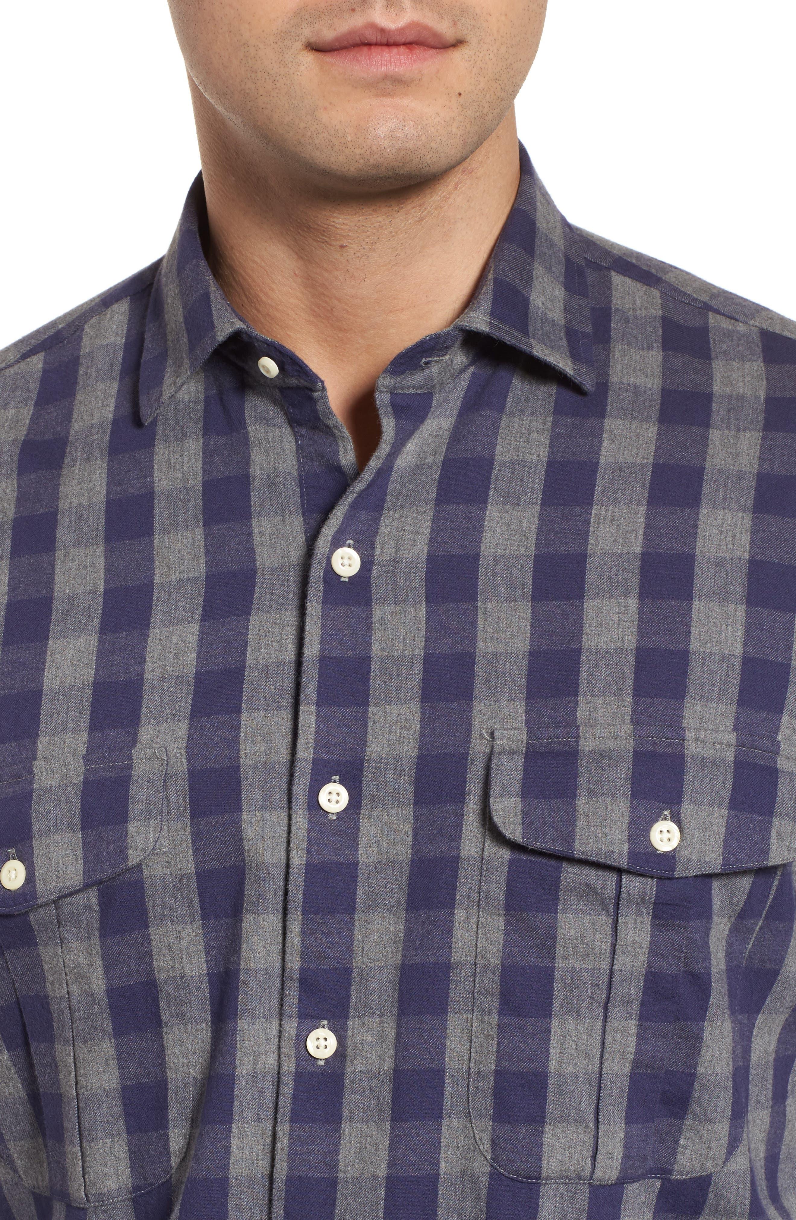 Buffalo Buddy Regular Fit Check Sport Shirt,                             Alternate thumbnail 4, color,                             Atlantic Blue