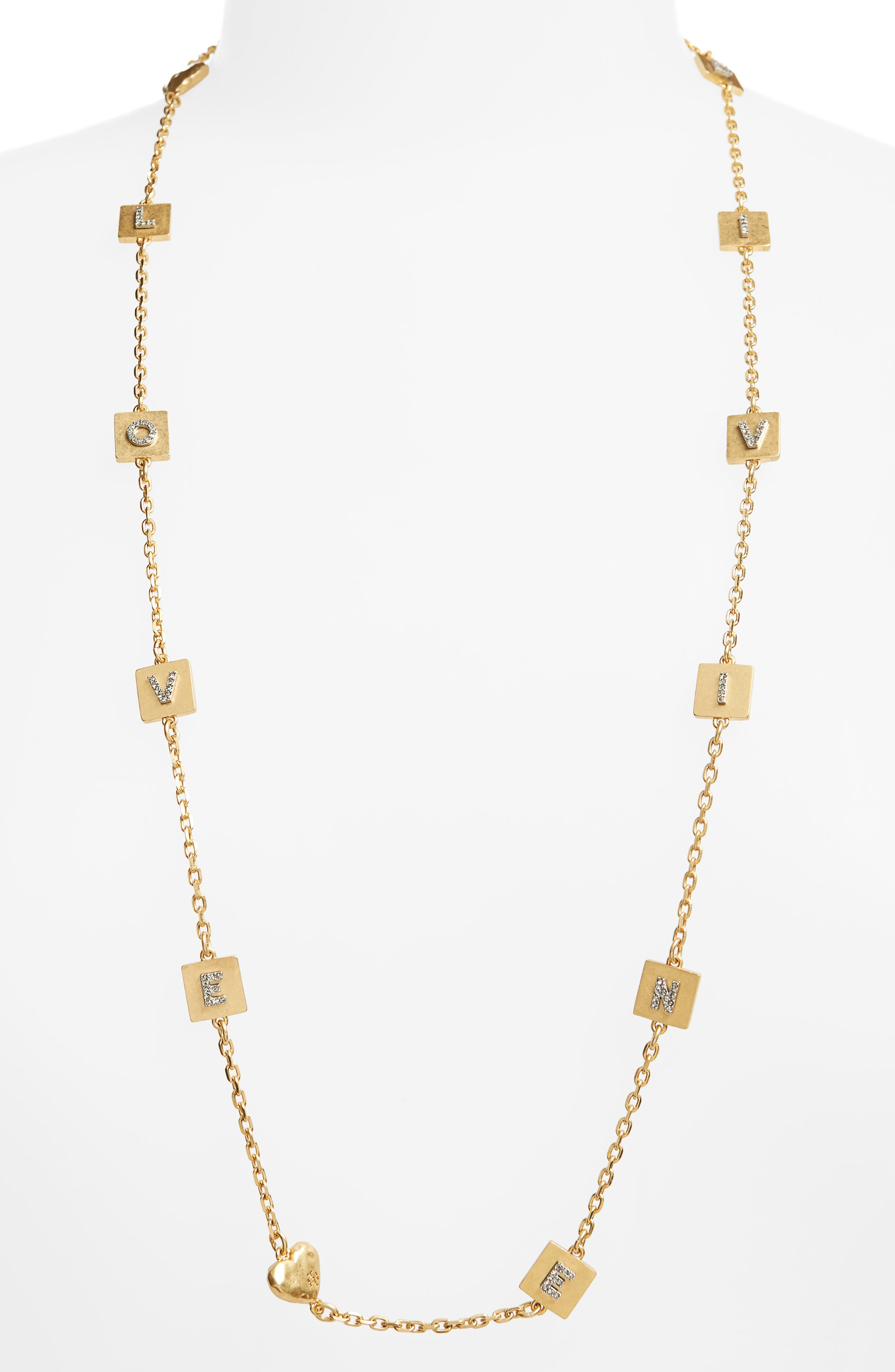 Love & Divine Message Necklace,                             Main thumbnail 1, color,                             Vintage Gold