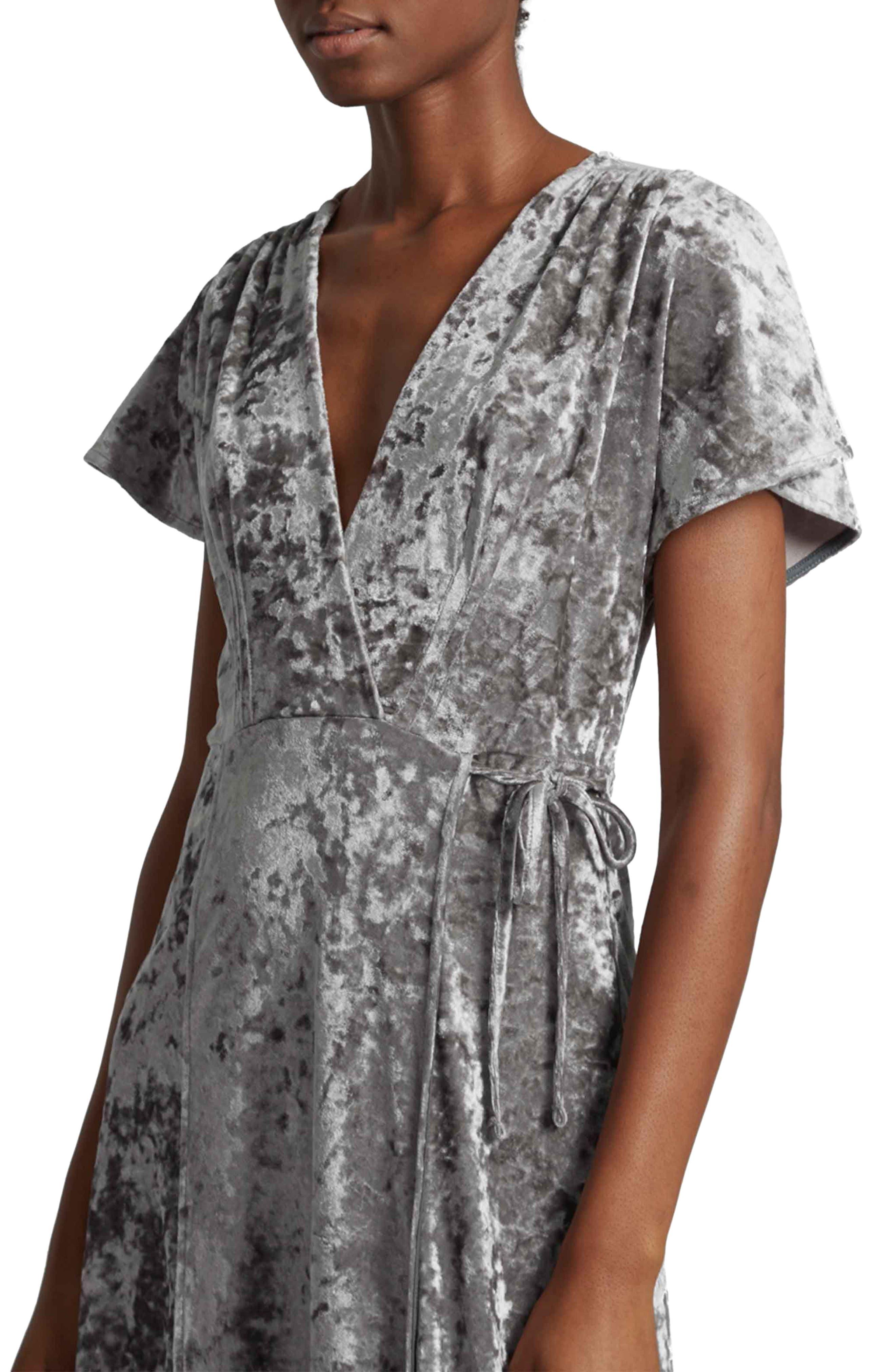 Aurore Velvet Maxi Wrap Dress,                             Alternate thumbnail 3, color,                             Smokey