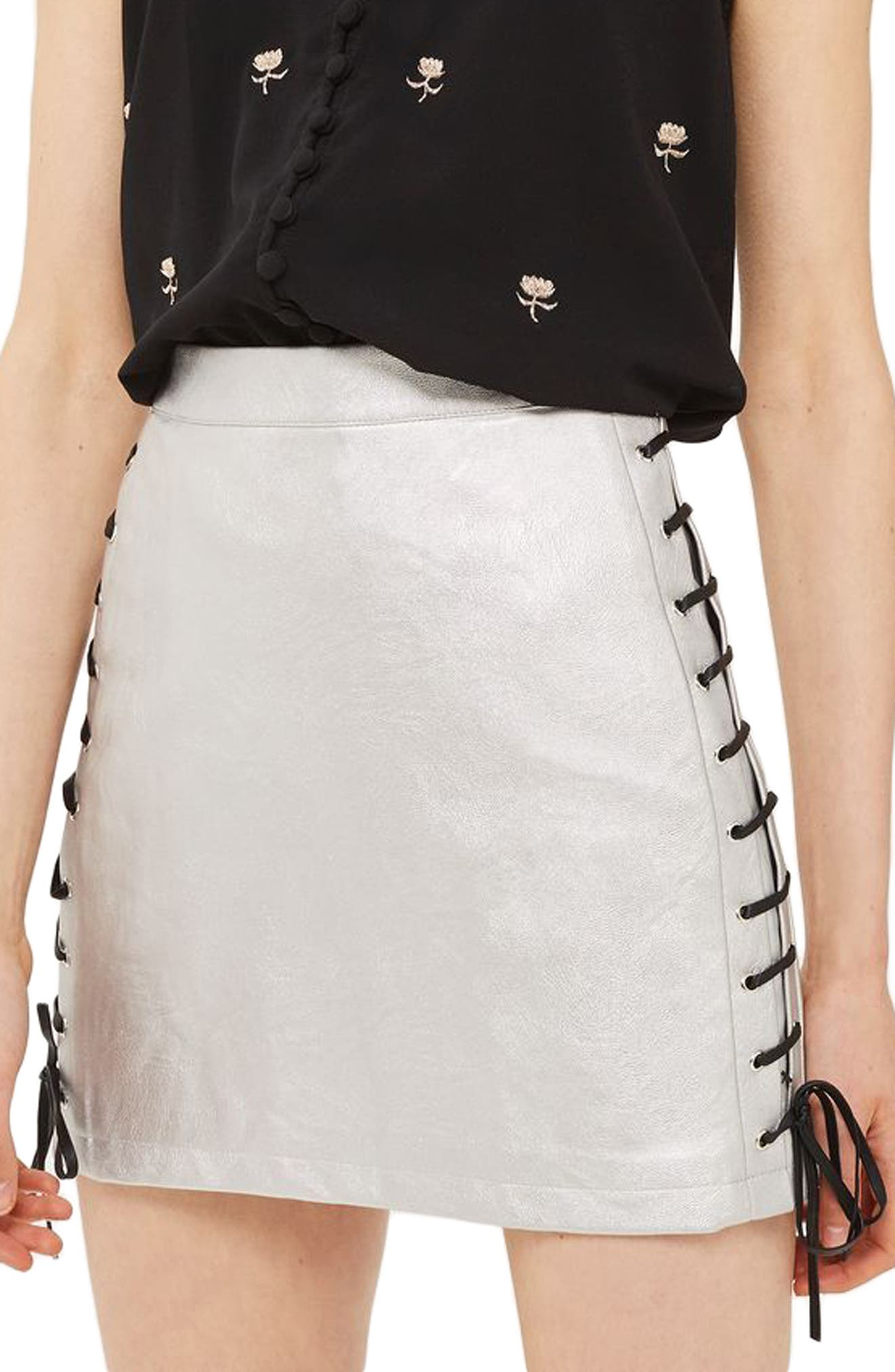 Lace-Up Side Faux Leather Skirt,                             Alternate thumbnail 3, color,                             Silver