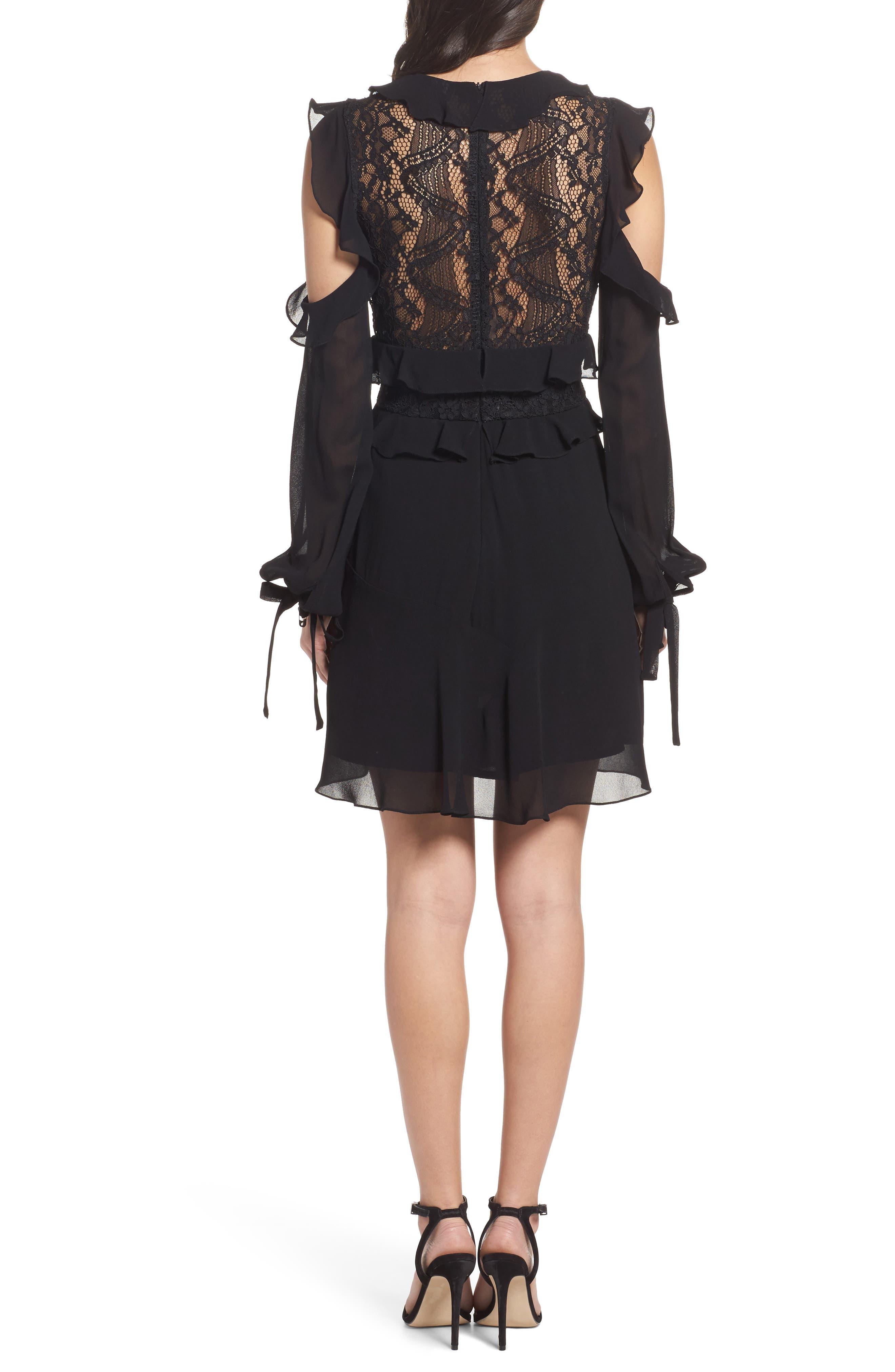 Florentine Cold Shoulder Dress,                             Alternate thumbnail 2, color,                             Black