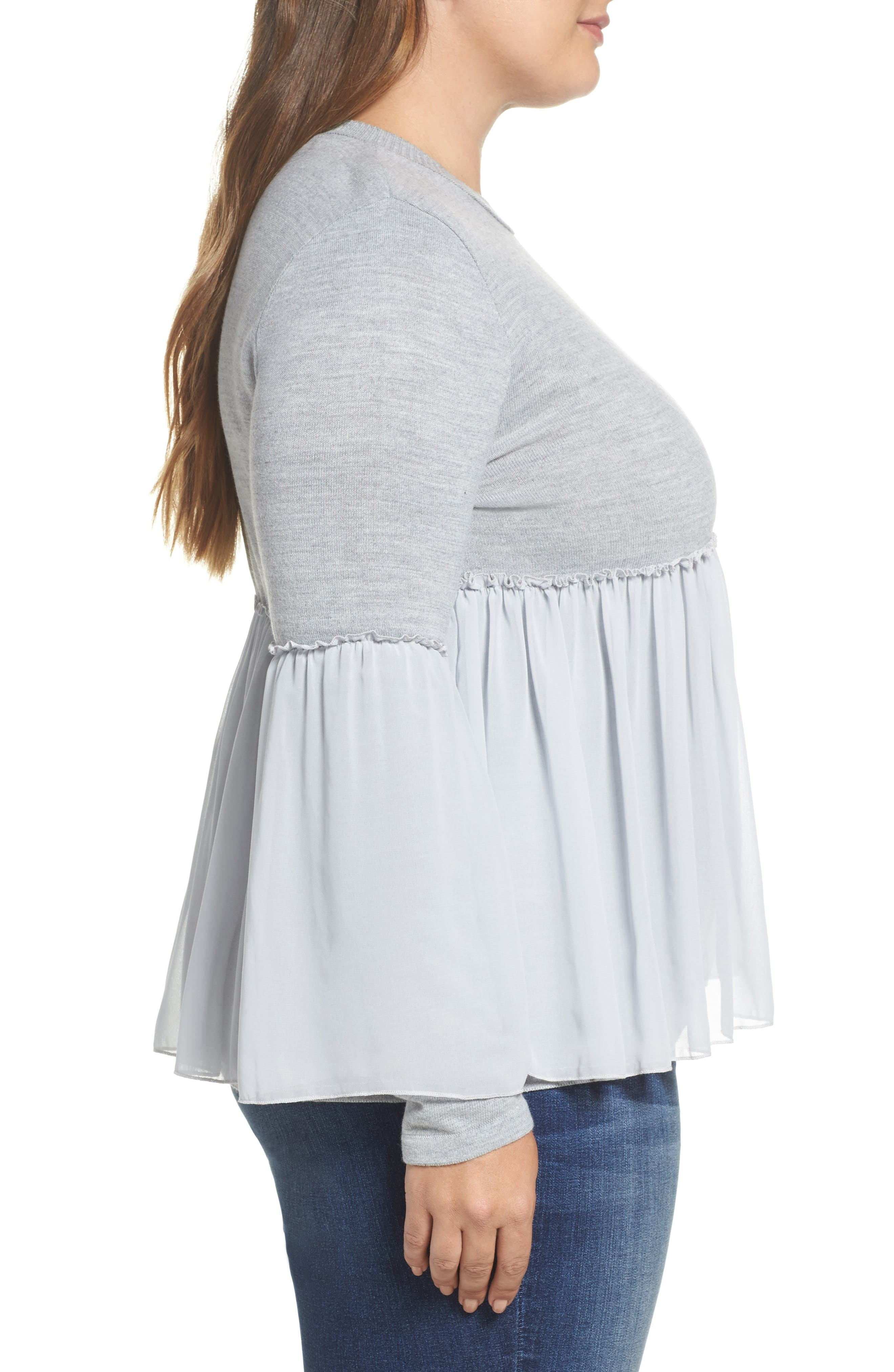 Smocked Chiffon Contrast Sweater,                             Alternate thumbnail 3, color,                             Grey