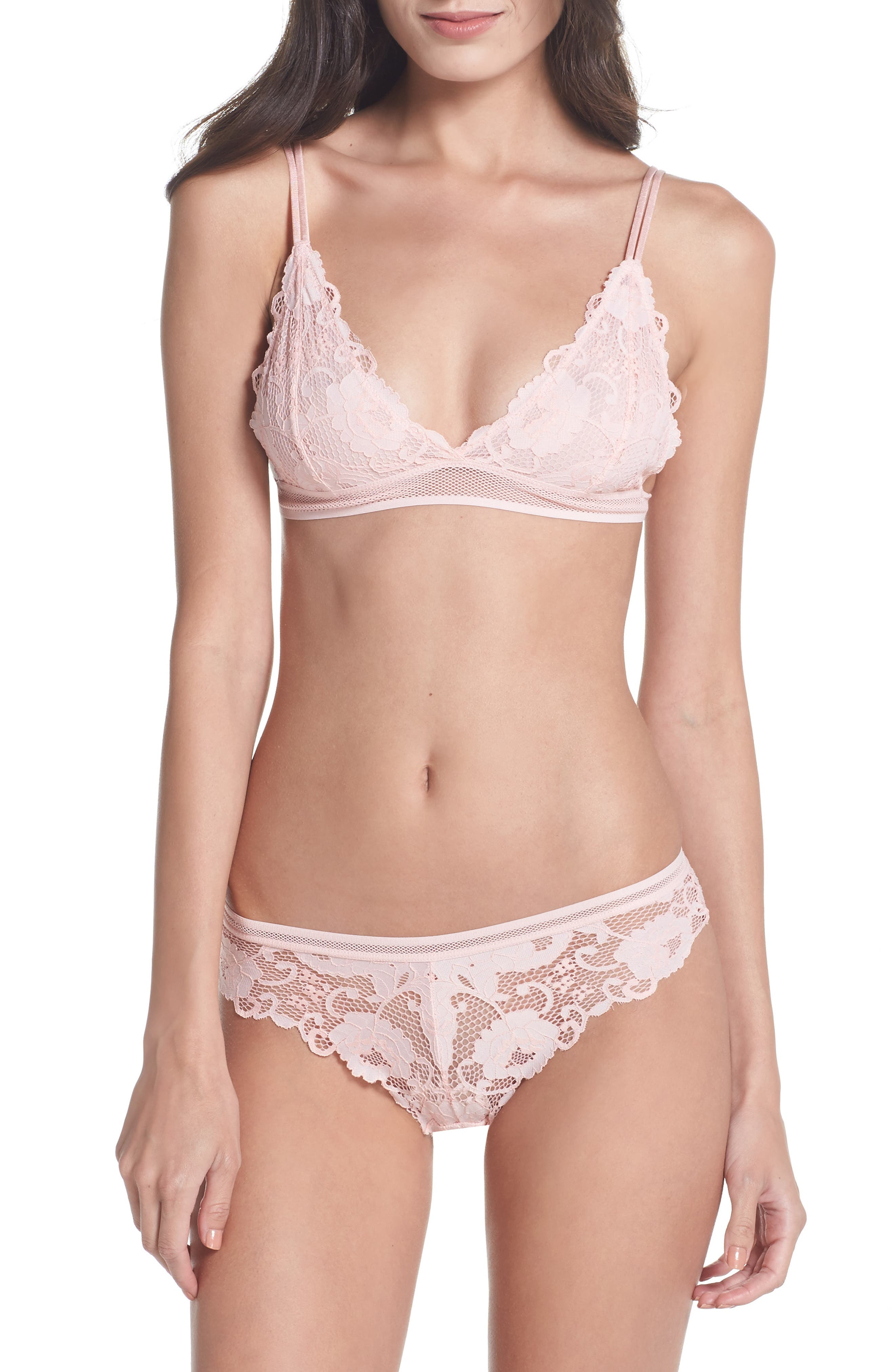 Lace Triangle Bralette,                             Alternate thumbnail 6, color,                             Dusty Pink