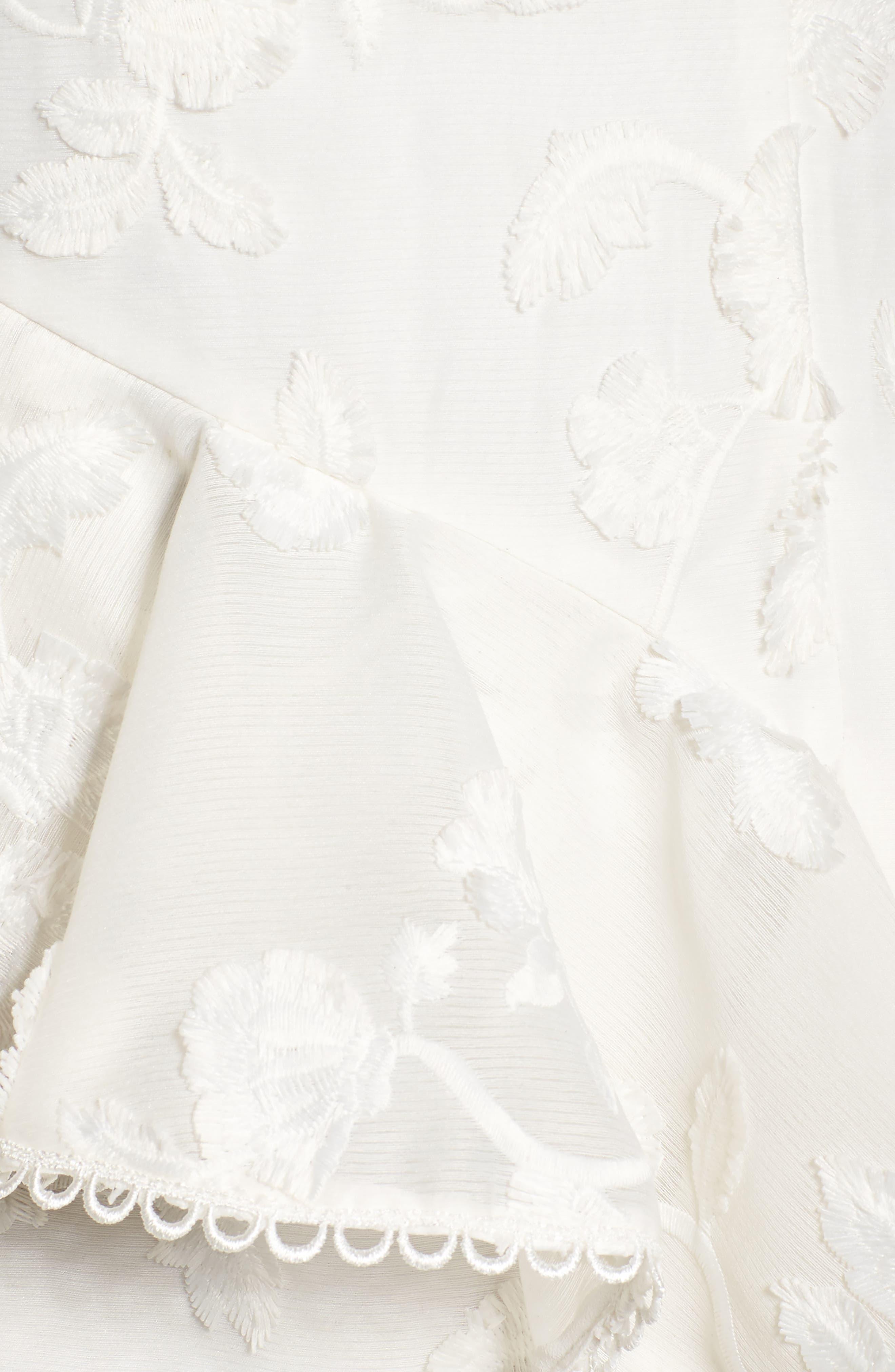 Shine Ruffle Lace Tea Length Dress,                             Alternate thumbnail 5, color,                             Ivory