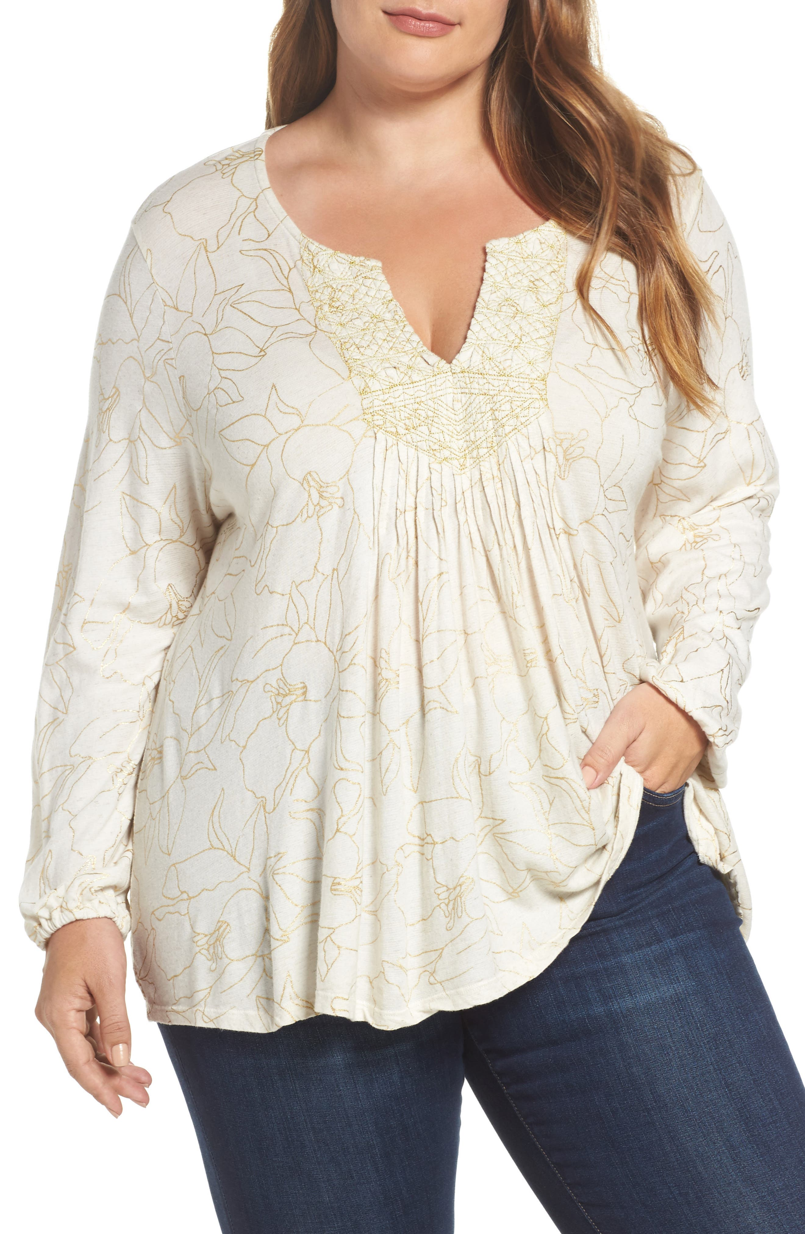 Alternate Image 1 Selected - Lucky Brand Embroidered Foil Print Top (Plus Size)