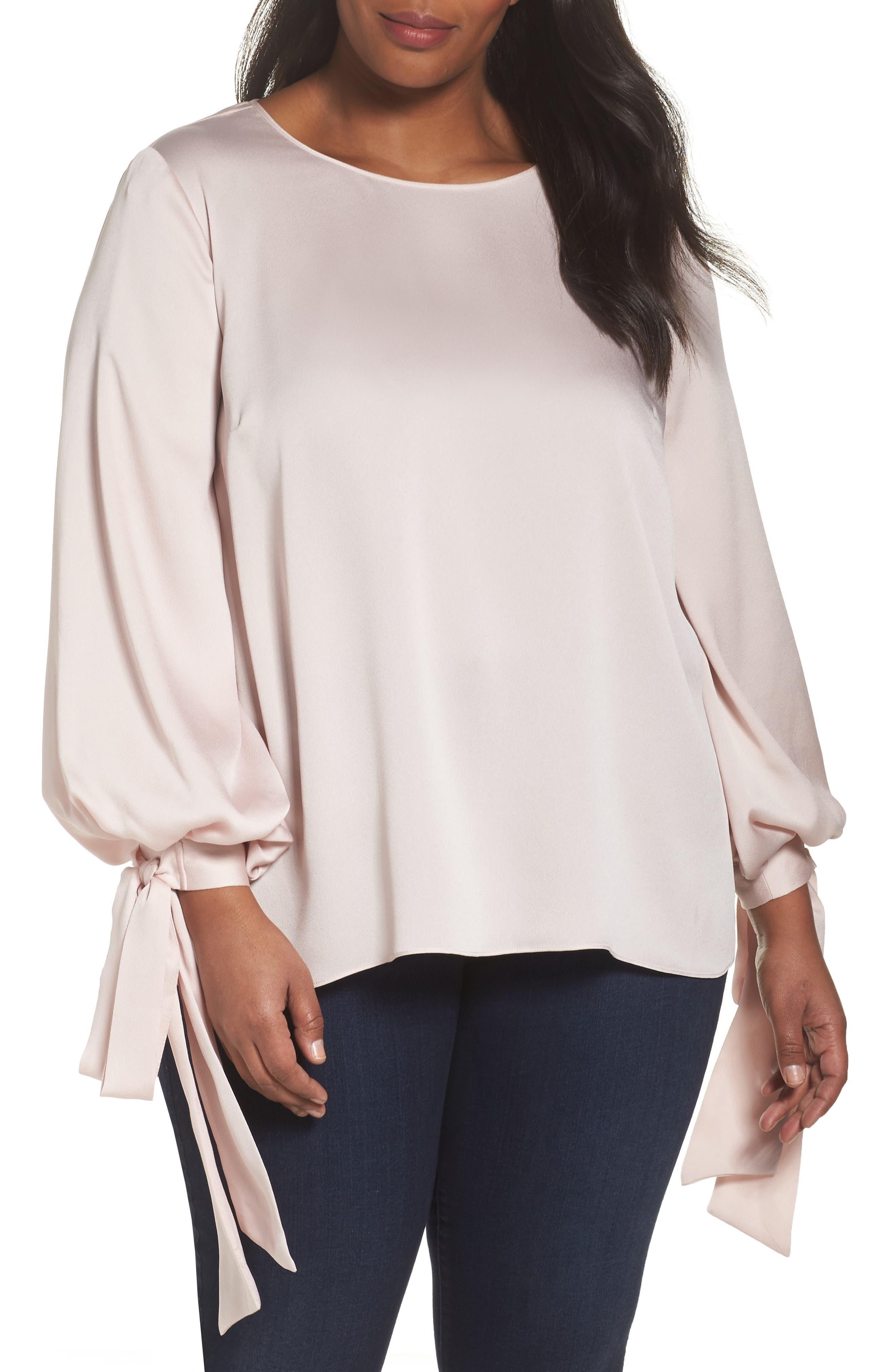 Alternate Image 1 Selected - Vince Camuto Tie Cuff Bubble Sleeve Blouse (Plus Size)