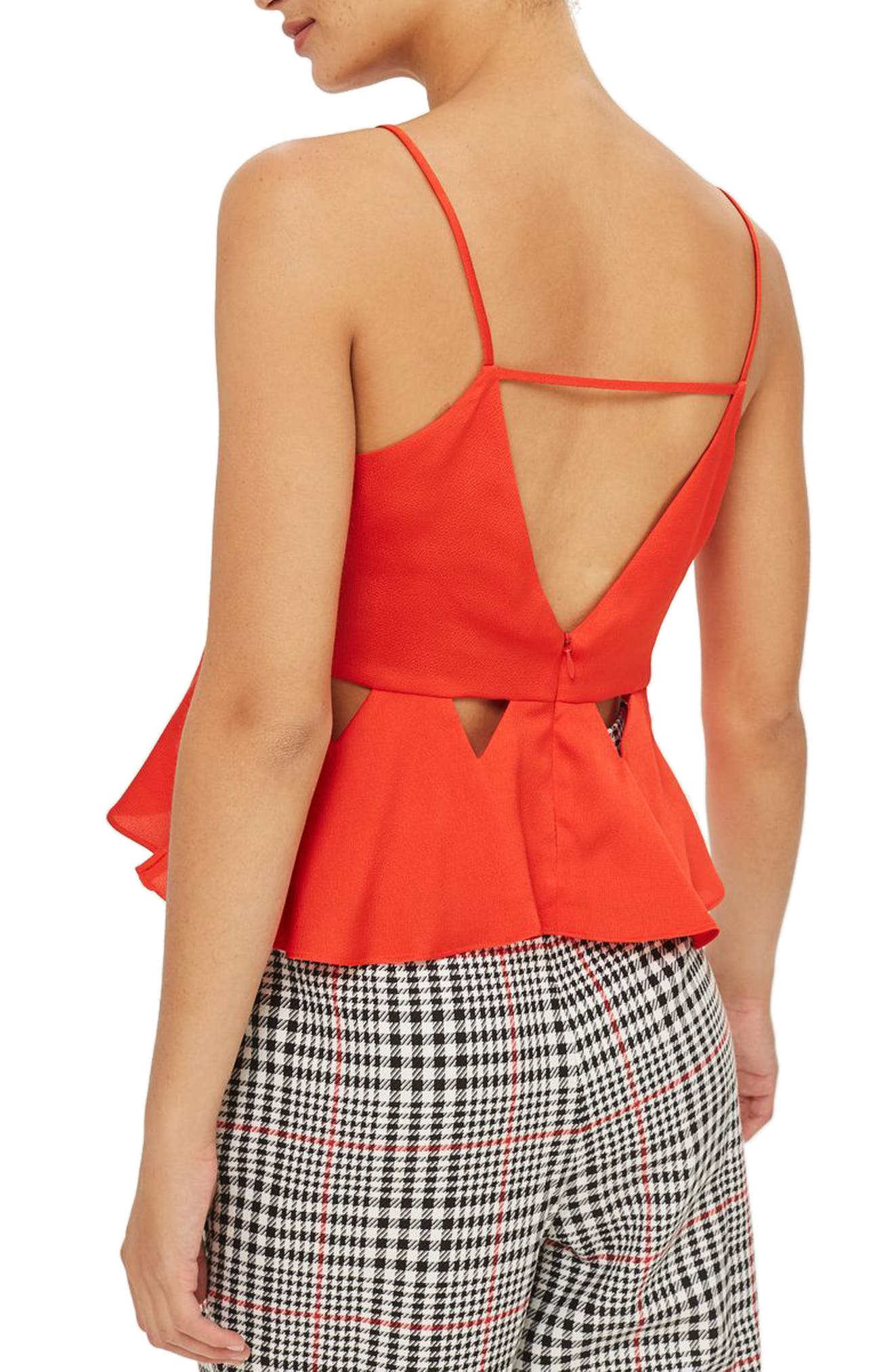 Cutout Satin Camisole Top,                             Alternate thumbnail 2, color,                             Red