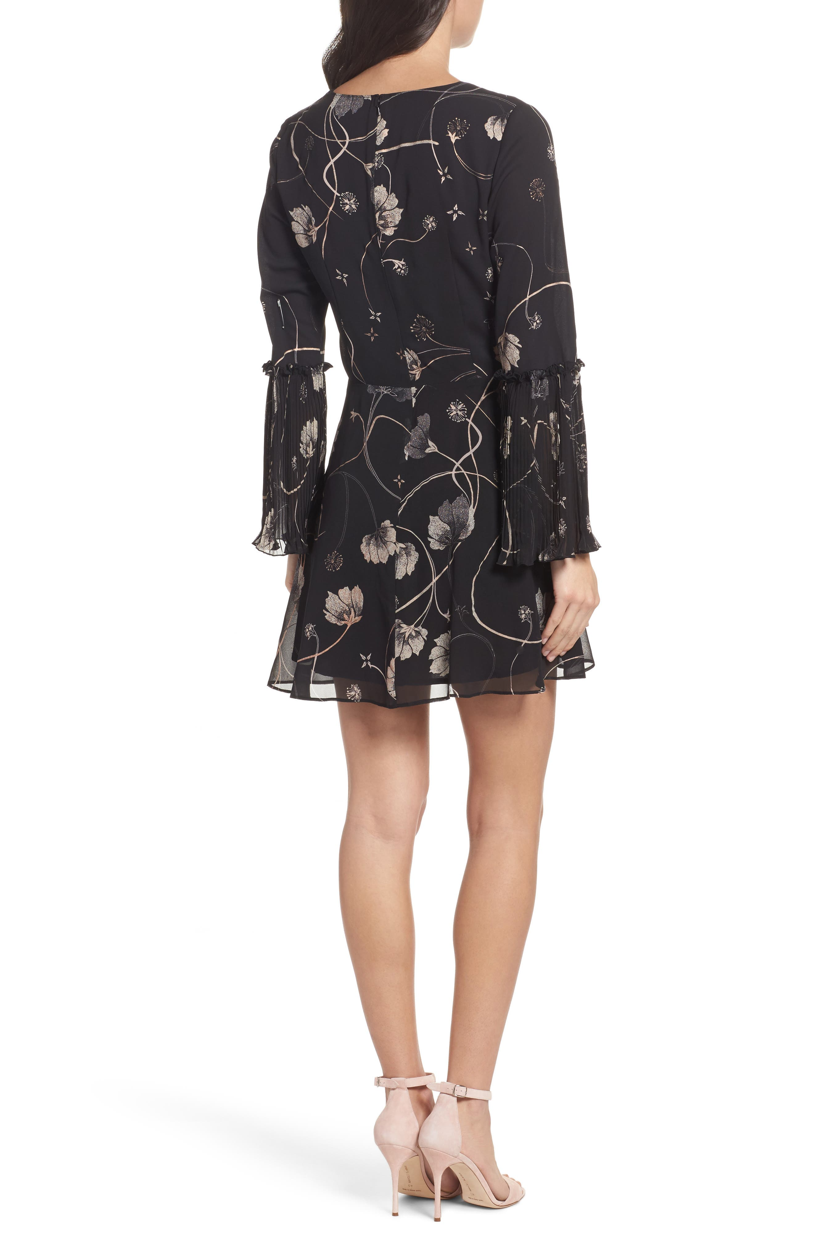 Bell Sleeve Fit & Flare Dress,                             Alternate thumbnail 2, color,                             Black Cotton Swirl
