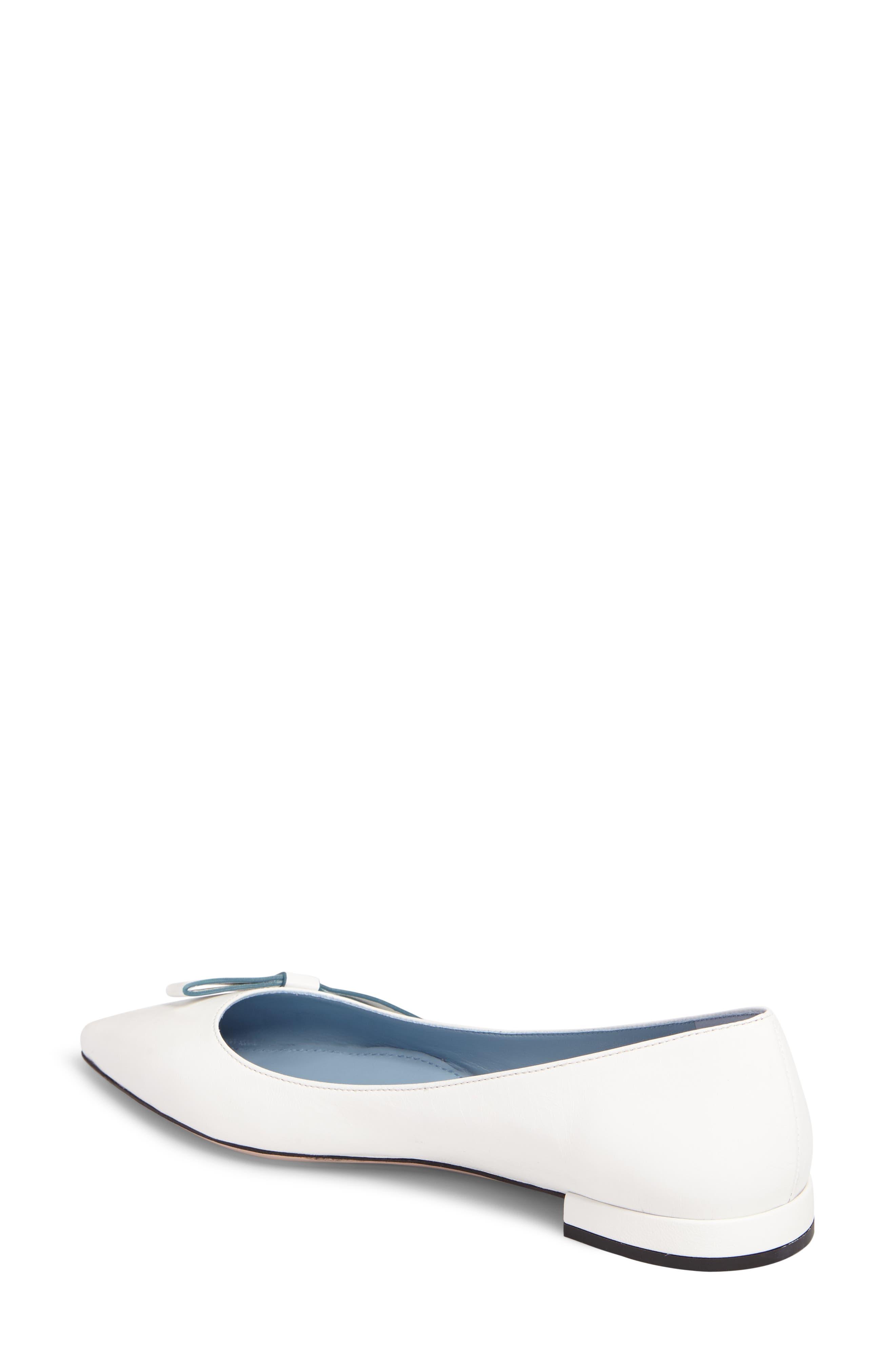Alternate Image 2  - Prada Logo Bow Pointy Toe Flat (Women)