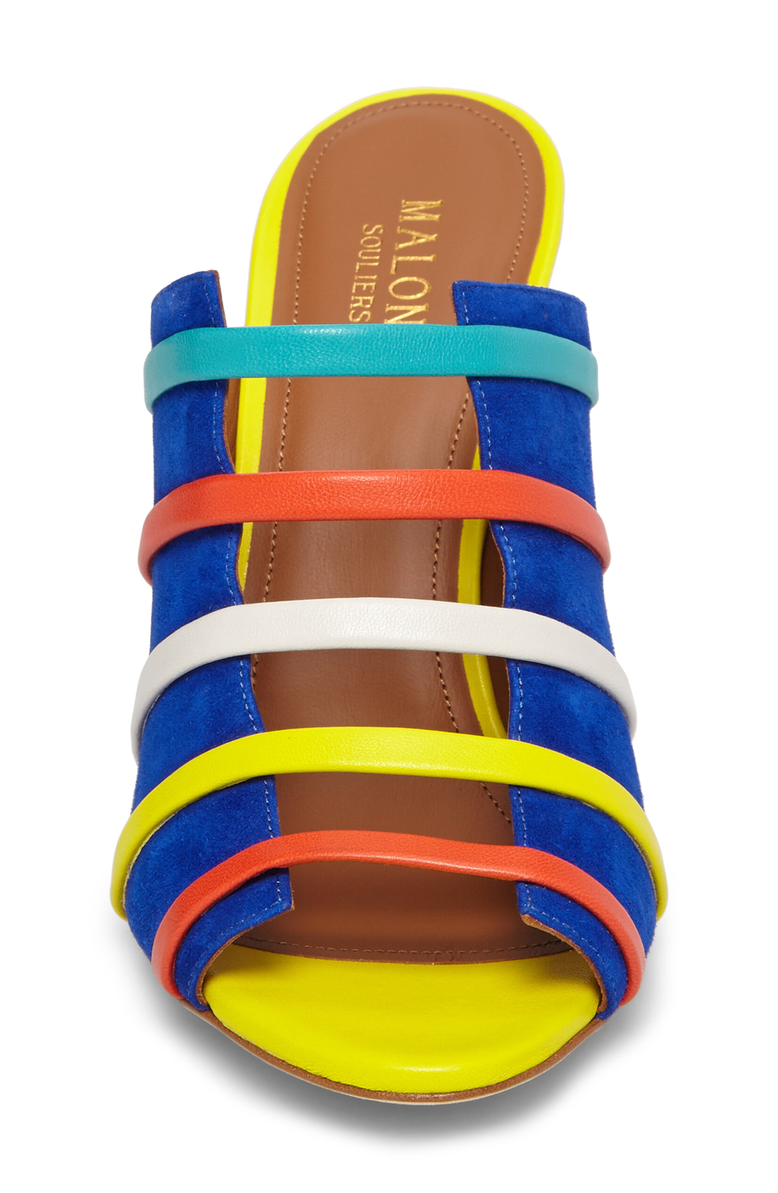 Zoe Banded Mule,                             Alternate thumbnail 4, color,                             Electric Blue/ Flame/ Yellow