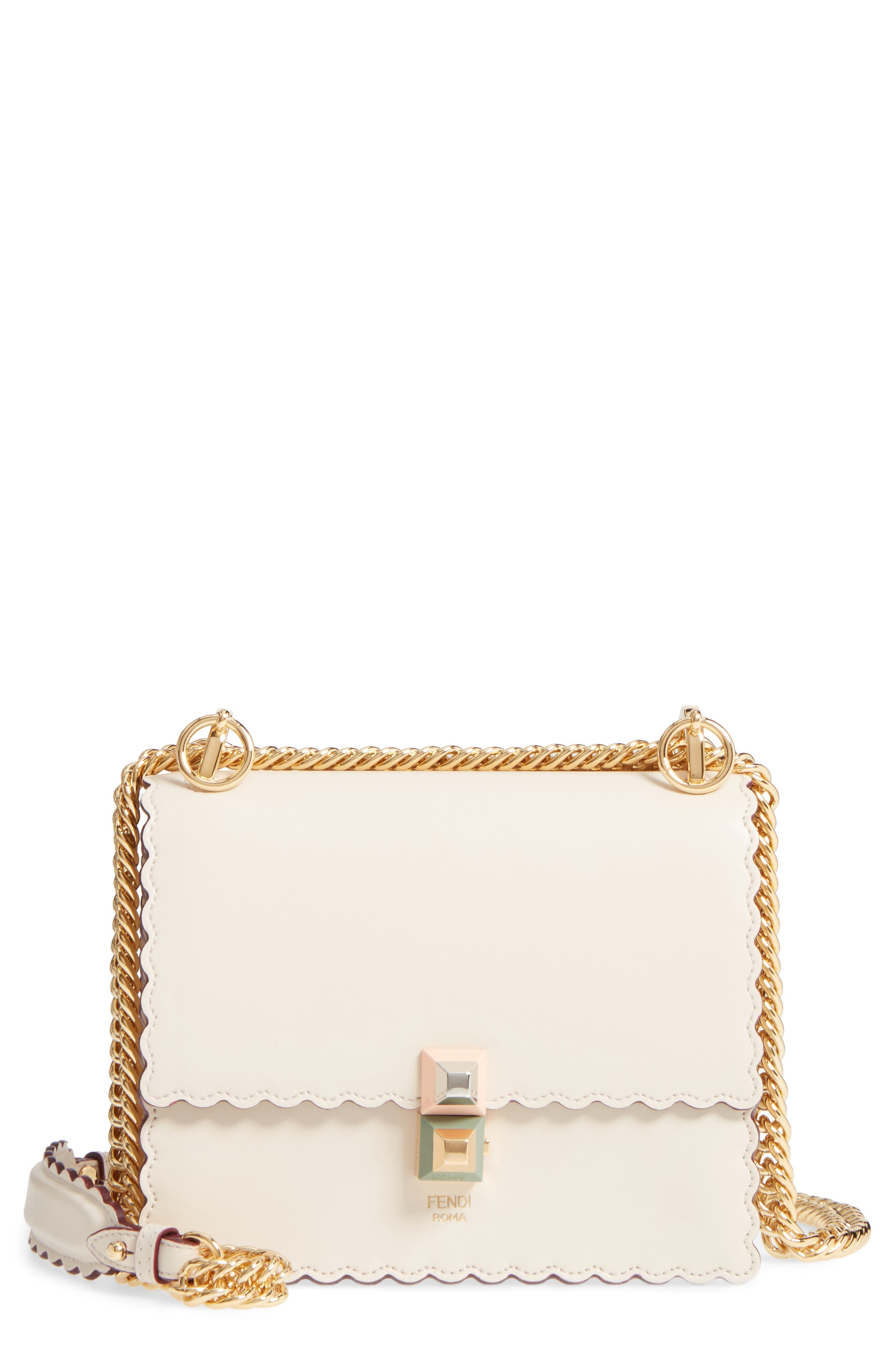 Main Image - Fendi Mini Kan I Scalloped Leather Shoulder Bag