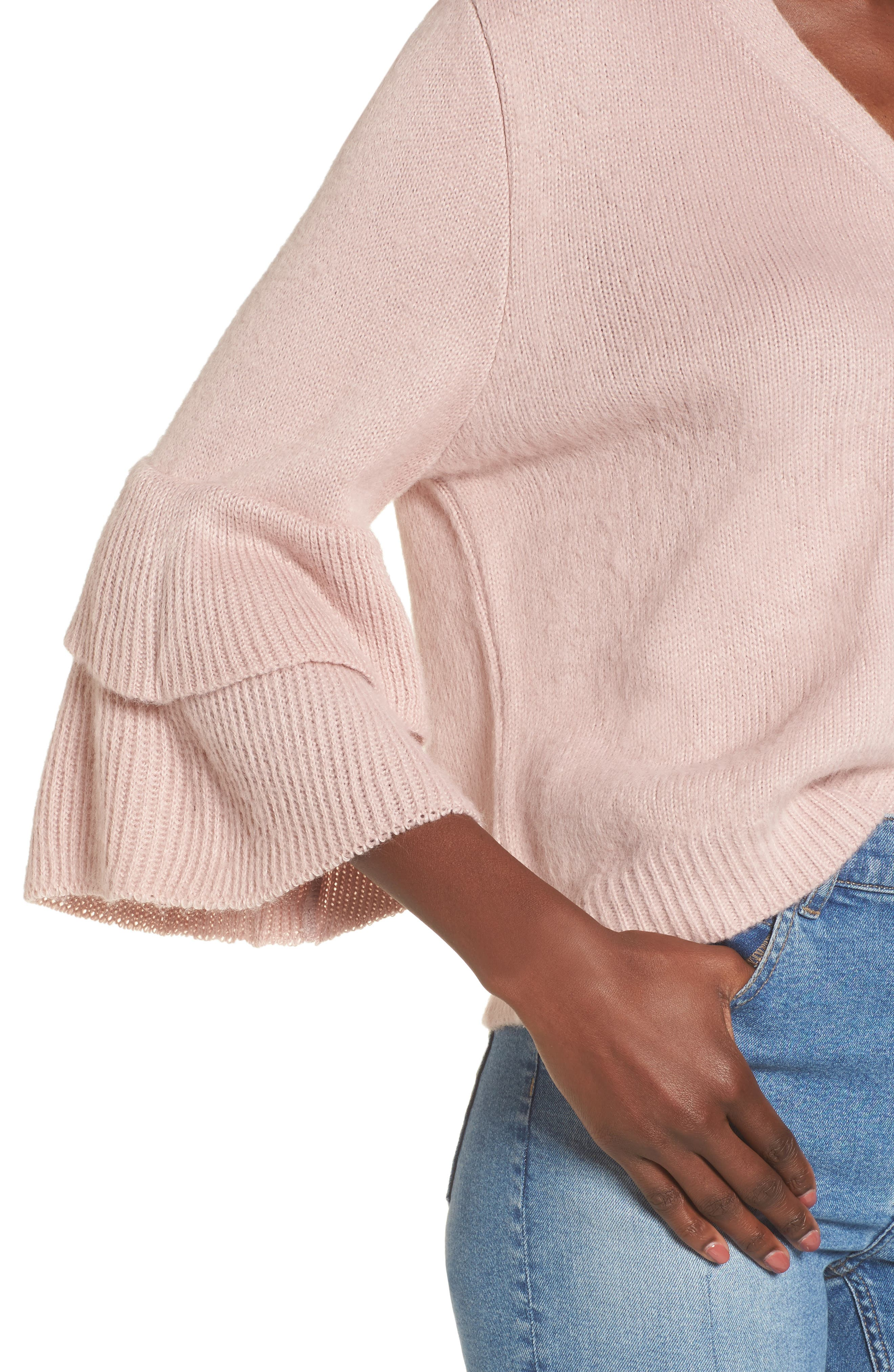 Tiered Sleeve Cardigan,                             Alternate thumbnail 5, color,                             Pink